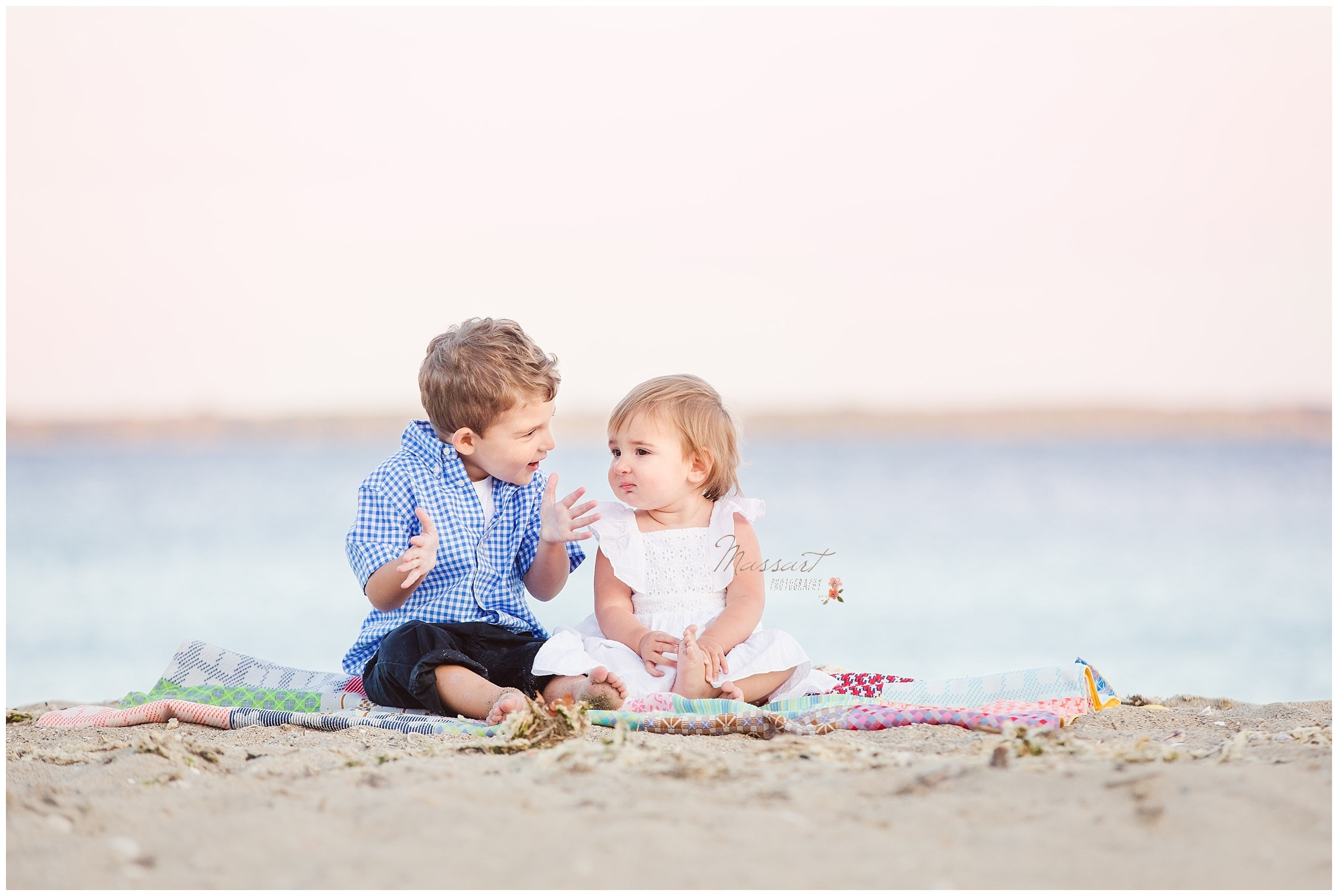 Brother and sister play in the sand photographed by Massart Photography Rhode Island