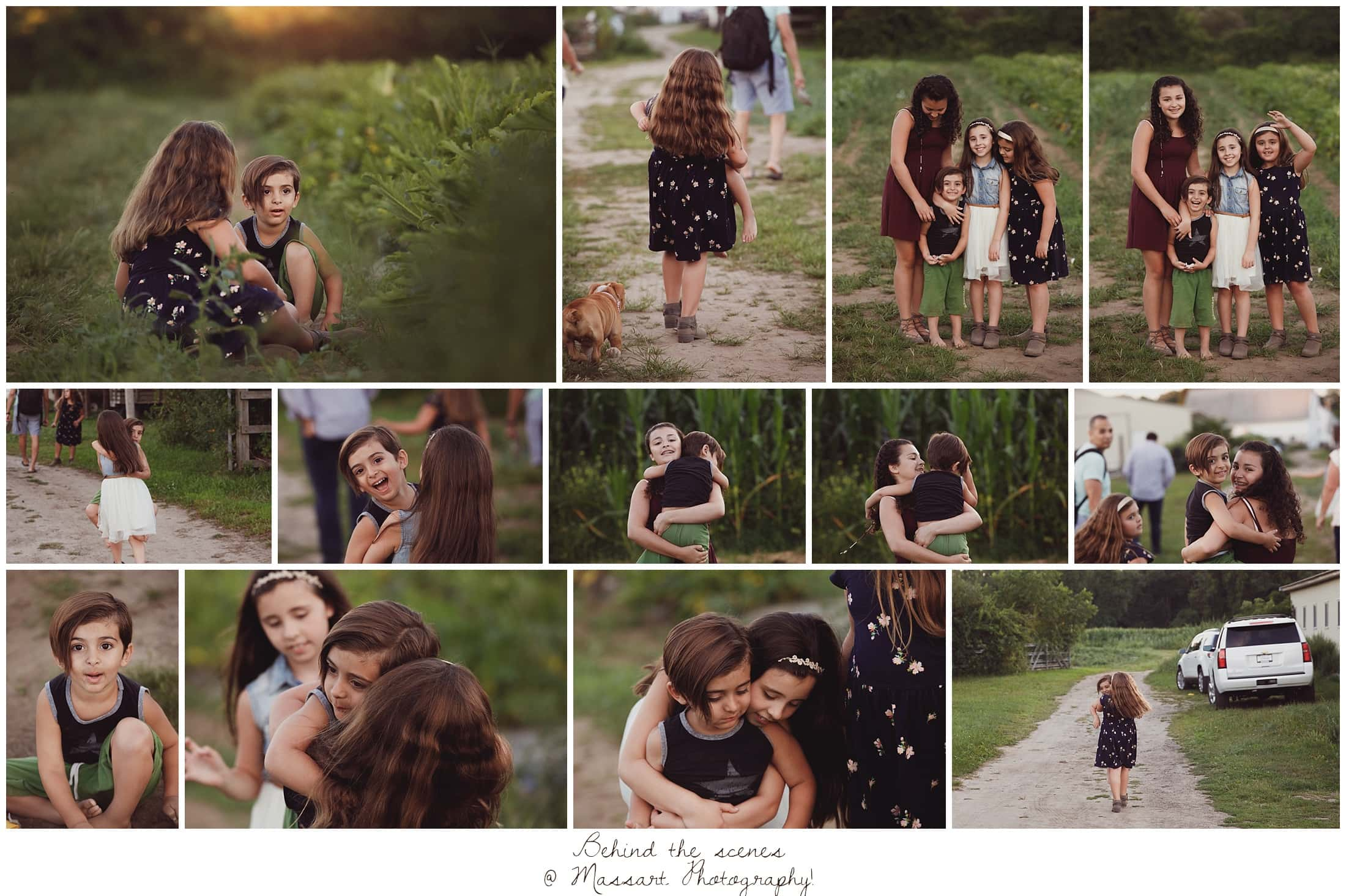 Behind the scenes with the sisters and the photographer's son playing during their outdoor family portrait session captured by Massart Photography of Warwick, RI