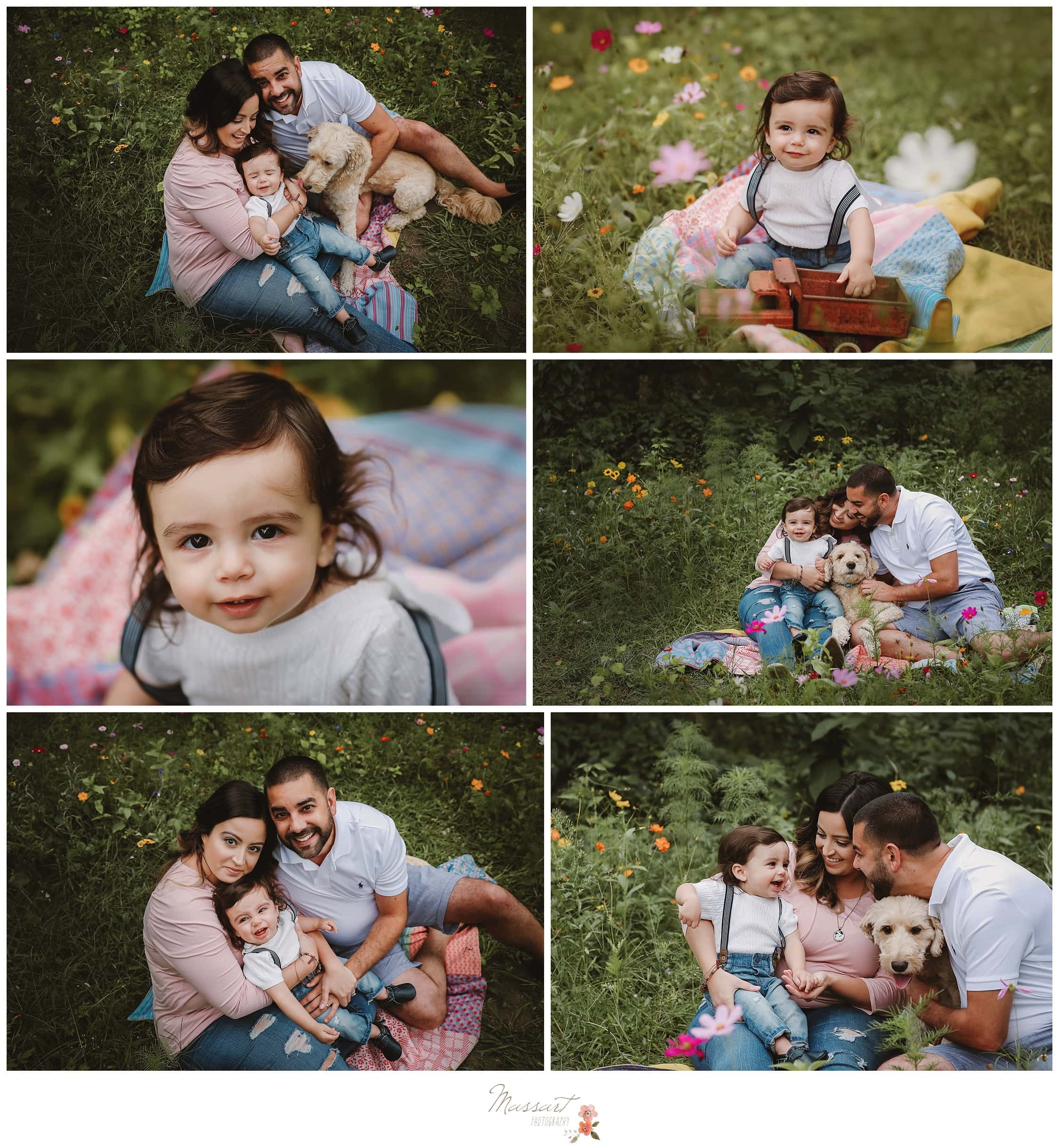 One year old and his family sit in the grass during his cake smash session captured by Massart Photography RI