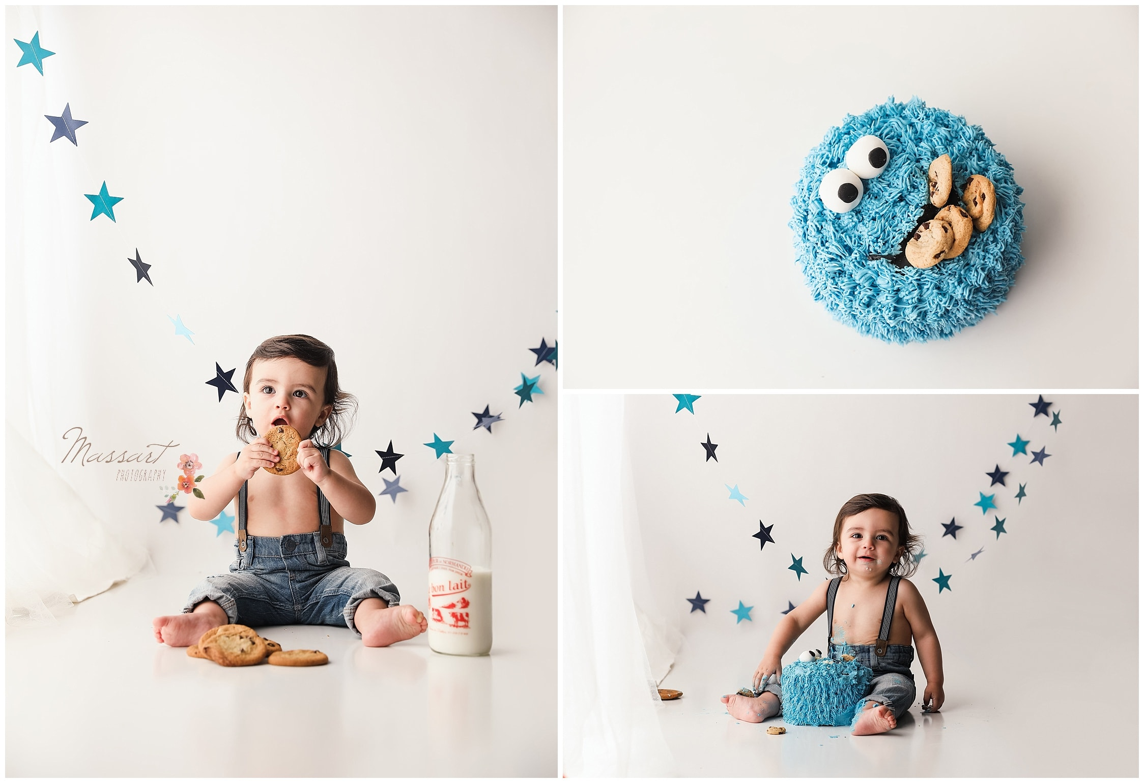 One year old celebrates his birthday with a Cookie Monster cake photographed by Massart Photography of Warwick, Rhode Island