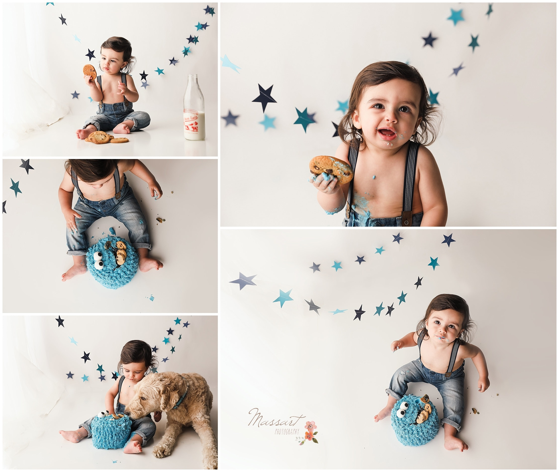 Little boy enjoys his cookie and his Cookie Monster smash cake during his milestone portrait session captured by Massart Photography Ri