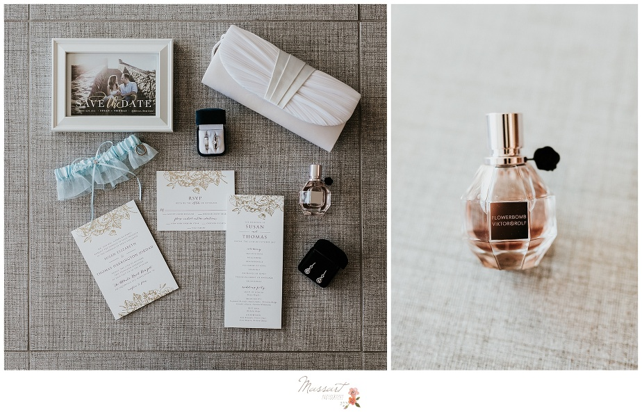 Detail portraits of the bride's perfume, accessories and the wedding invites photographed by Massart Photography RI