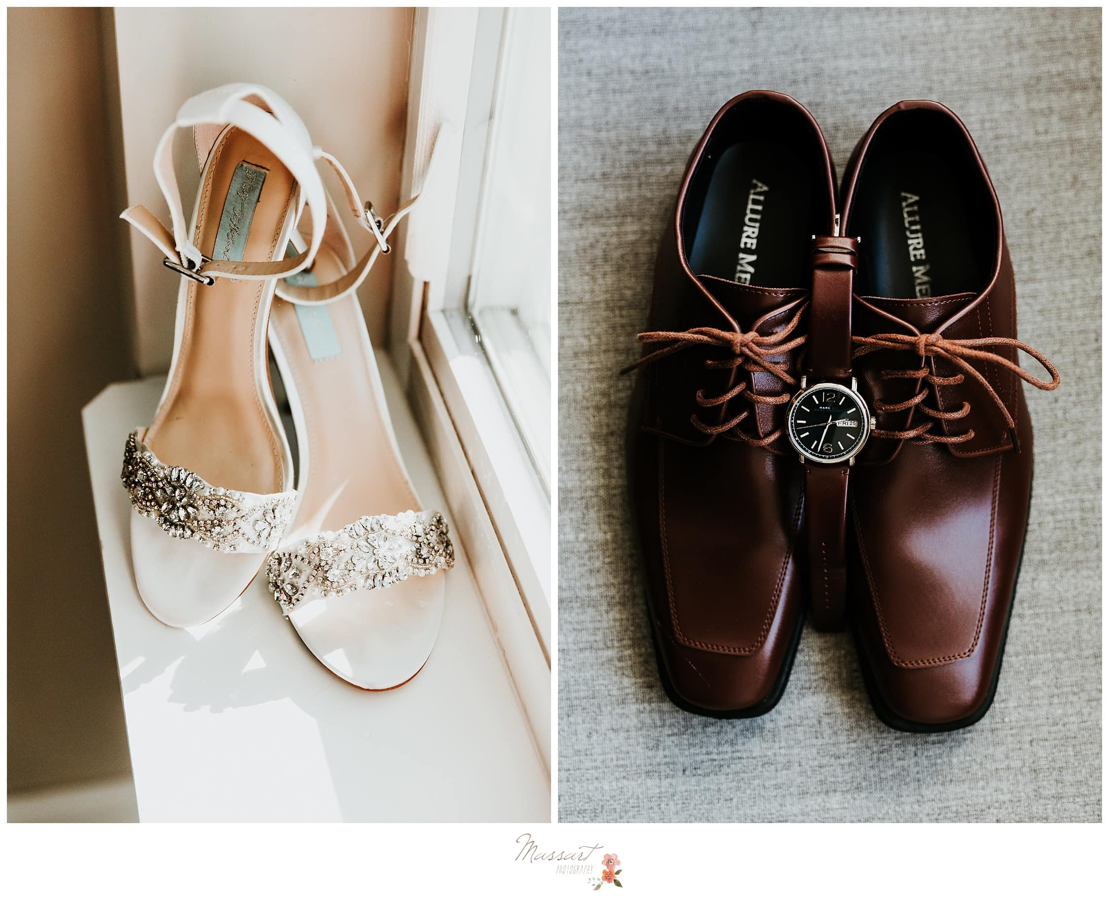 Side by side portrait of the bride and groom's wedding shoes photographed by Massart Photography Rhode Island