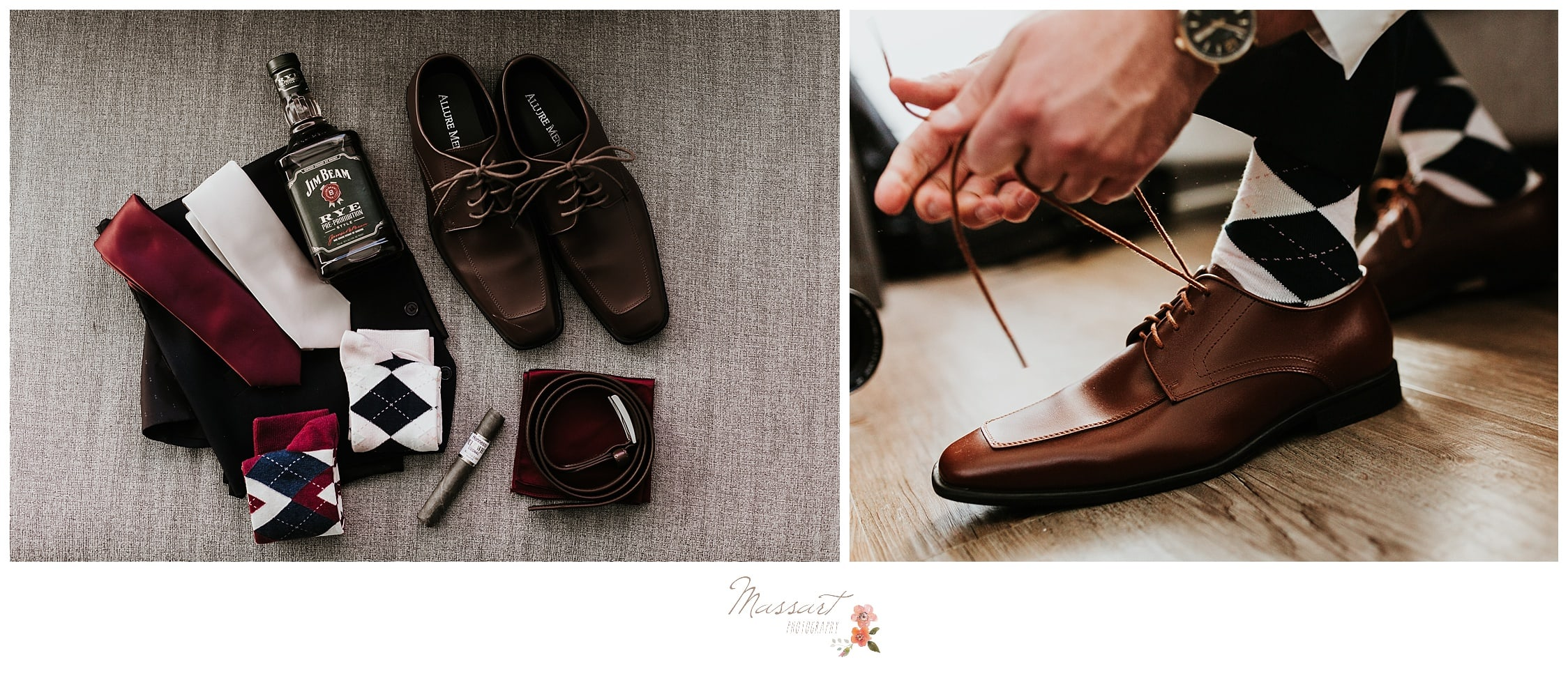 Detail portraits of the groom's wedding accessories and him tying his shoes photographed by Massart Photography Rhode Island