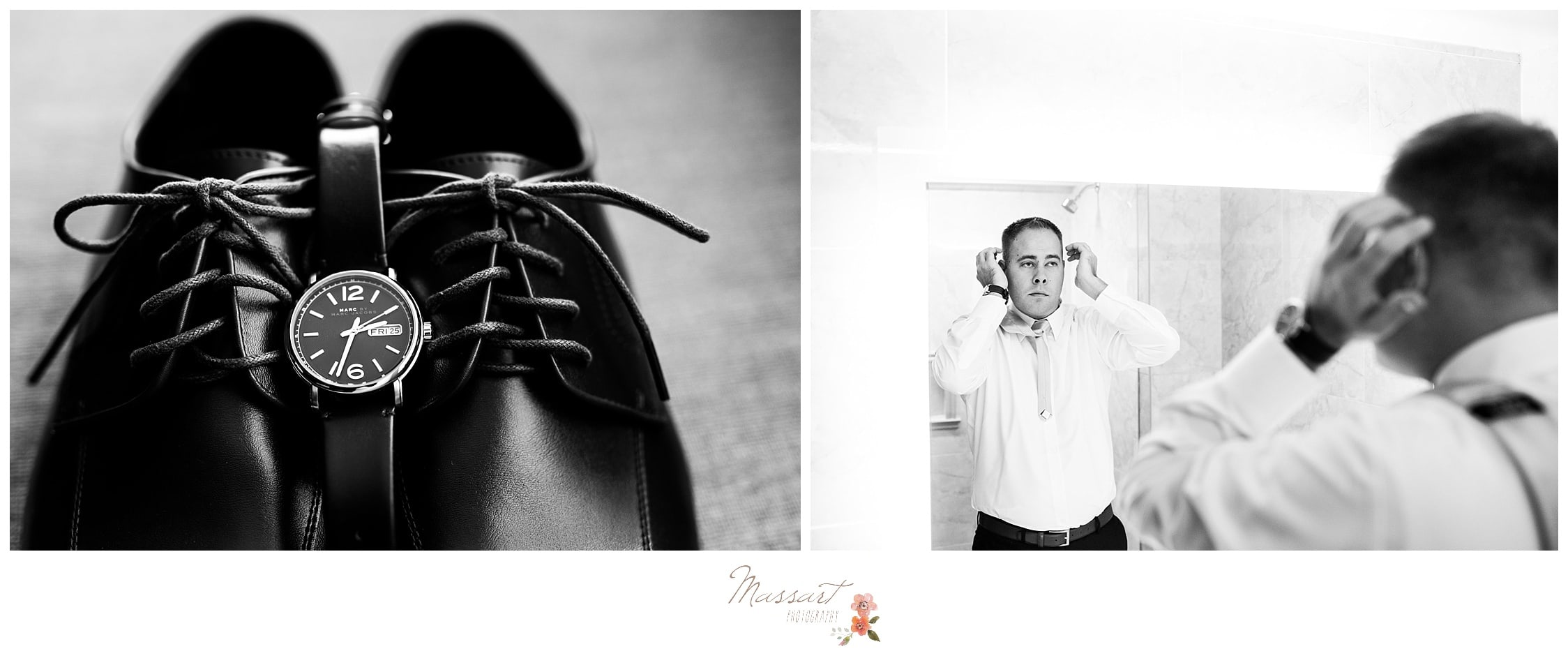 Black and white portraits of the groom getting ready as well as his shoes and watch photographed by Massart Photography RI