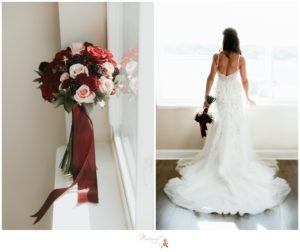 The bride's bouquet as well as the bride standing in front of the window with her wedding gown on just before the Atlantic Resort wedding captured by Massart Photography of Warwick, Rhode Island