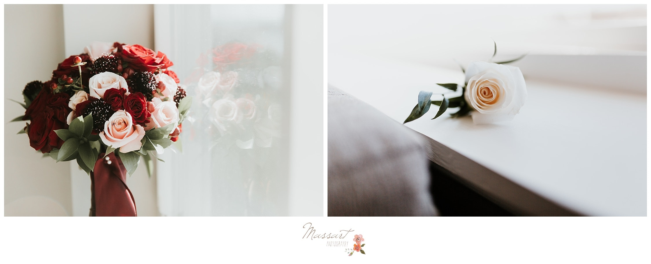 The bride's bouquet sitting by the windowsill photographed by Massart Photography RI