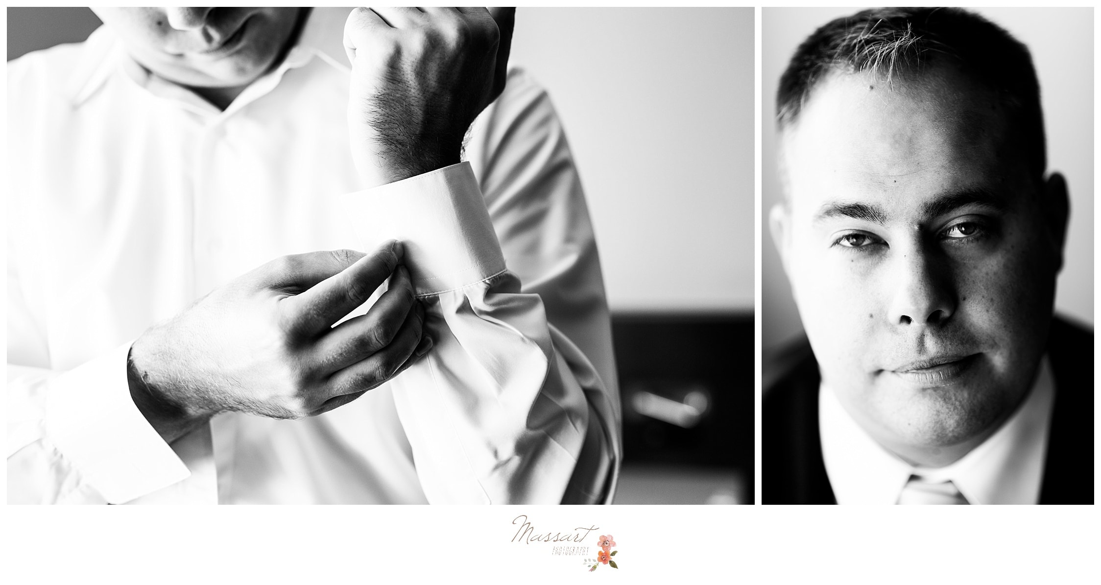 Portraits of the groom getting ready before the Atlantic Resort wedding captured by Massart Photography RI
