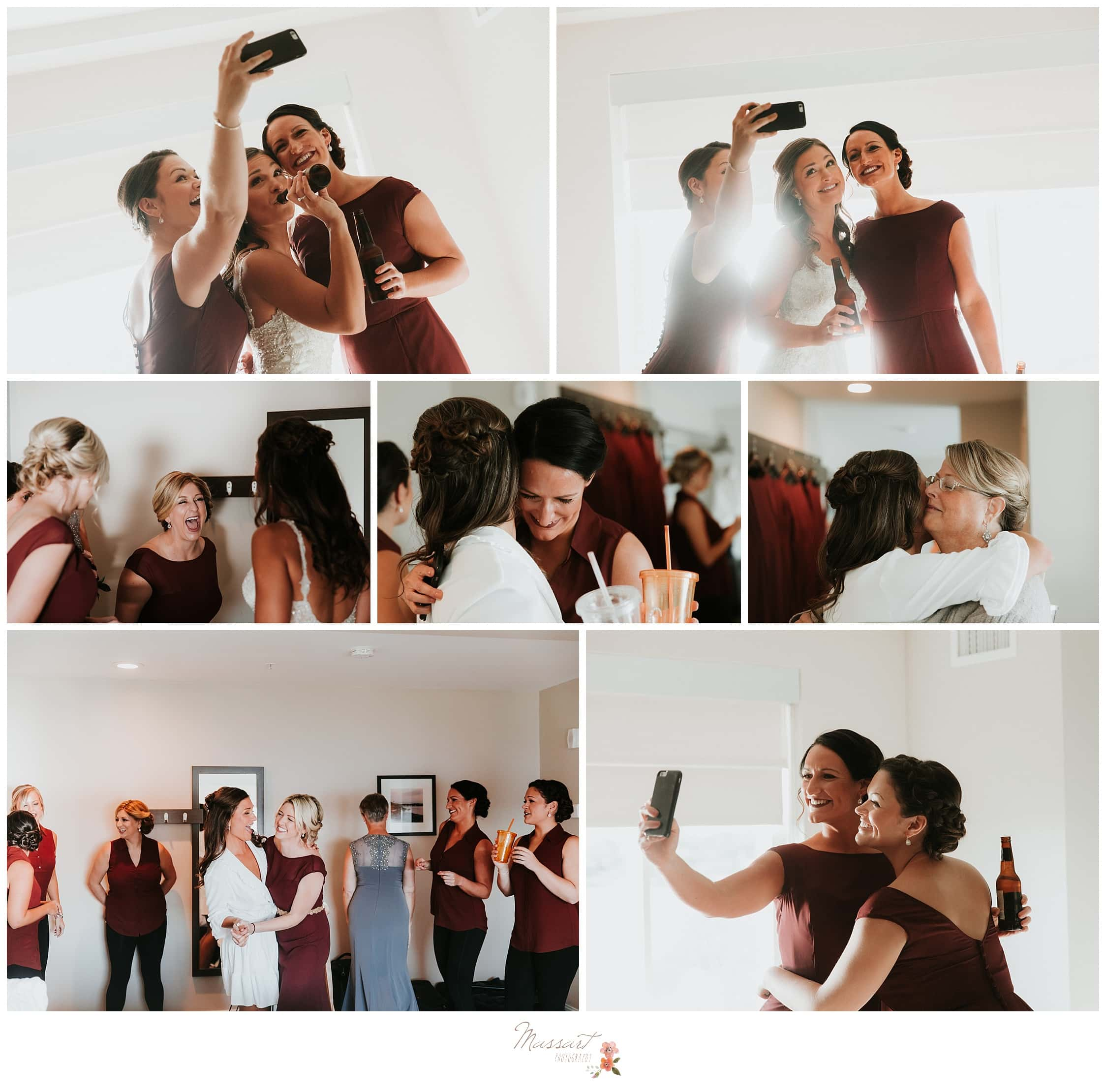 Bride and her bridesmaids have fun and take selfies while getting ready for the Atlantic Resort wedding captured by Massart Photography RI