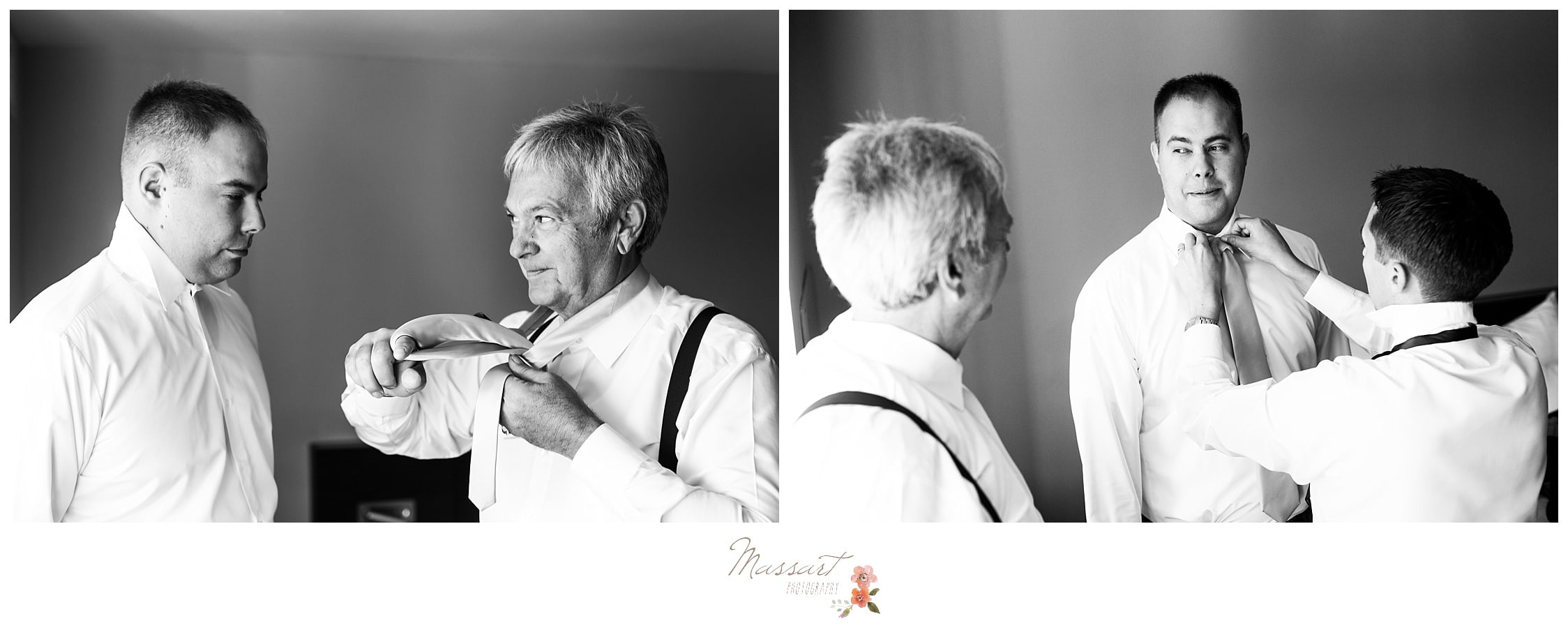 Groom and his father help each other get ready before the wedding captured by Massart Photography RI