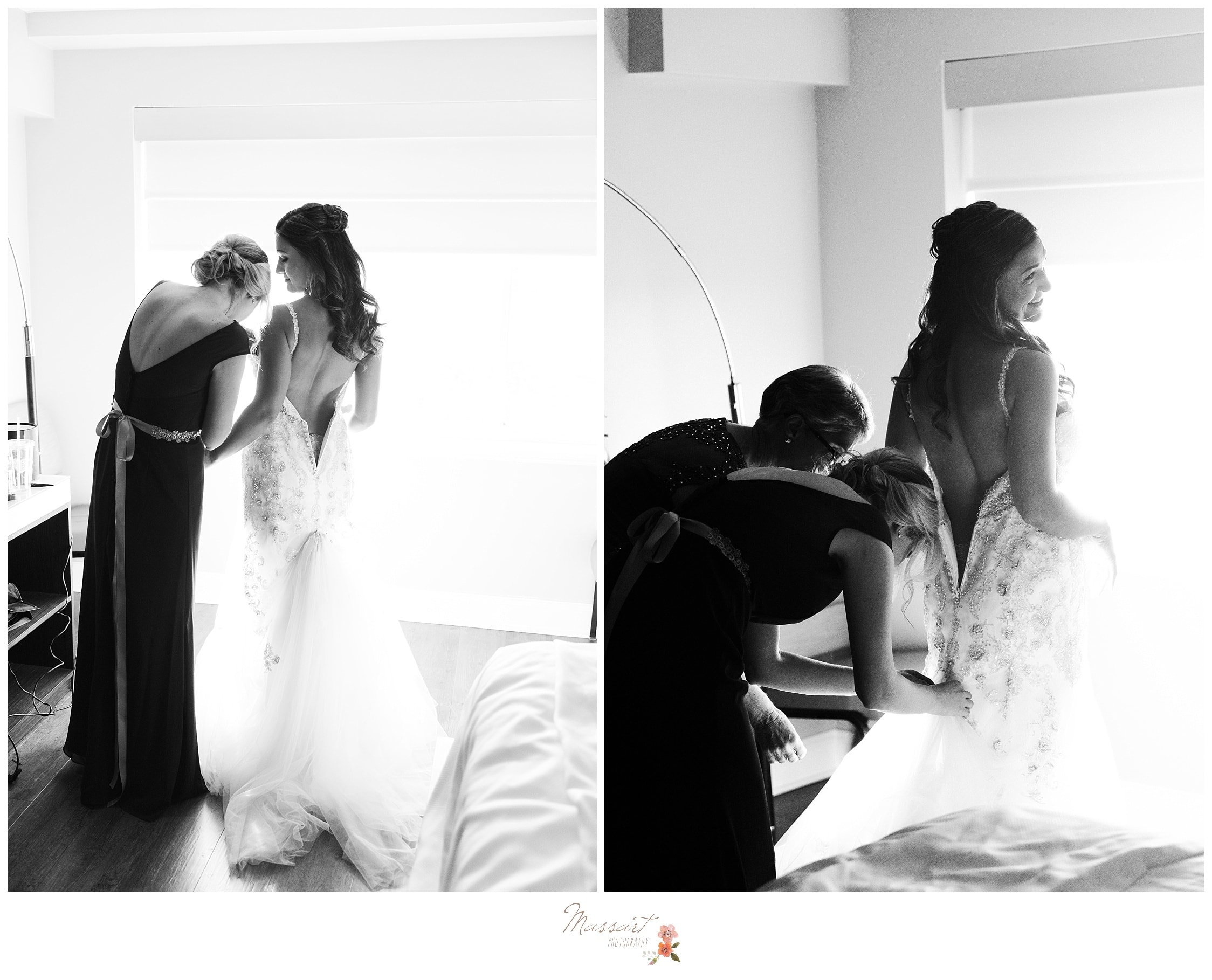 Black and white portraits of the maid of honor lacing up the bride's wedding gown photographed by Massart Photography RI