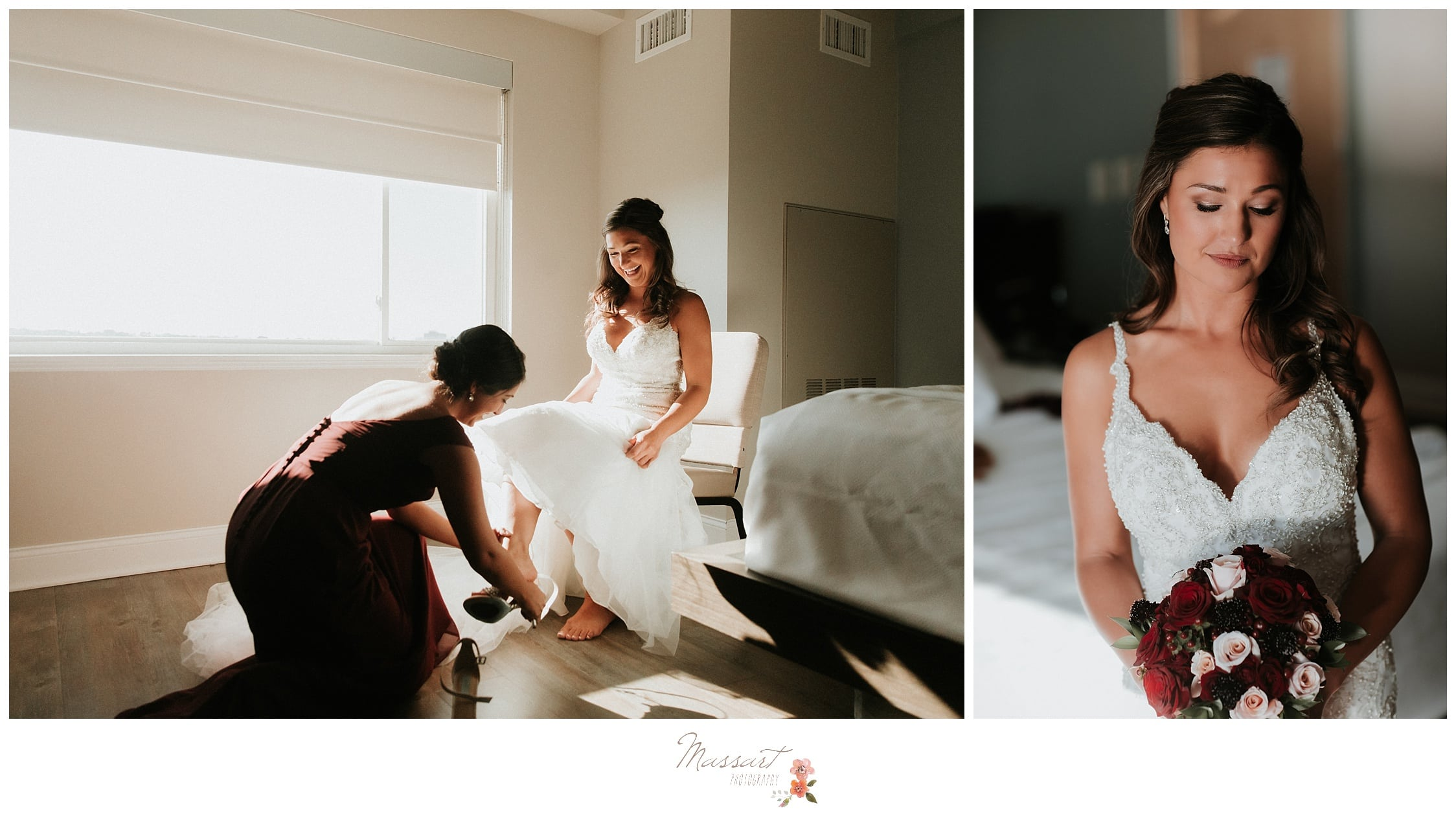 Bride puts on her heels and finishes up getting ready for the Atlantic Resort wedding in Newport, RI photographed by Massart Photography Rhode Island