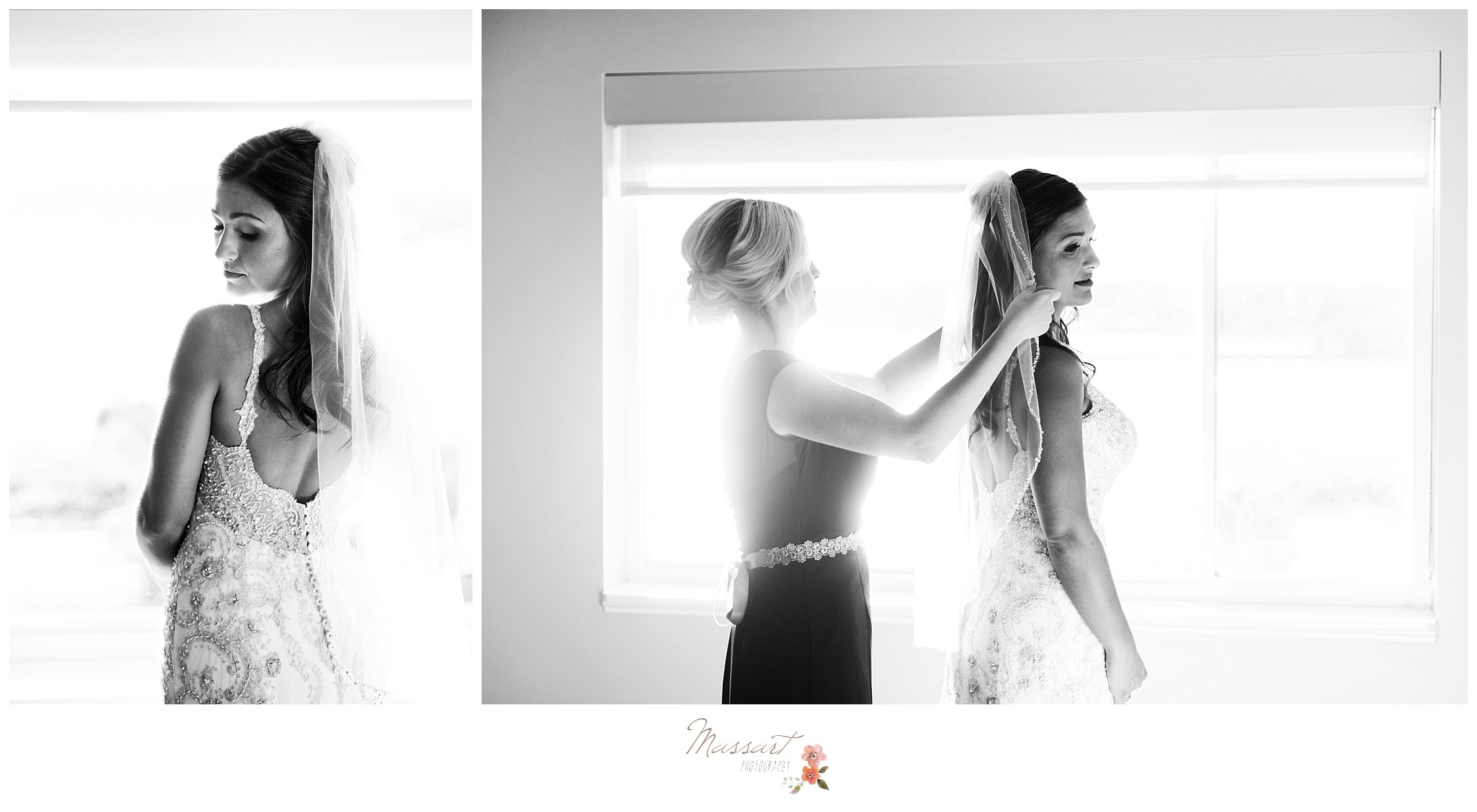 Black and white portraits of the bride getting on her wedding veil photographed by Massart Photography RI