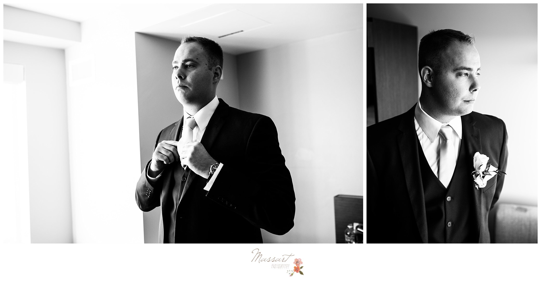 Groom finishes up getting ready photographed by Massart Photography RI