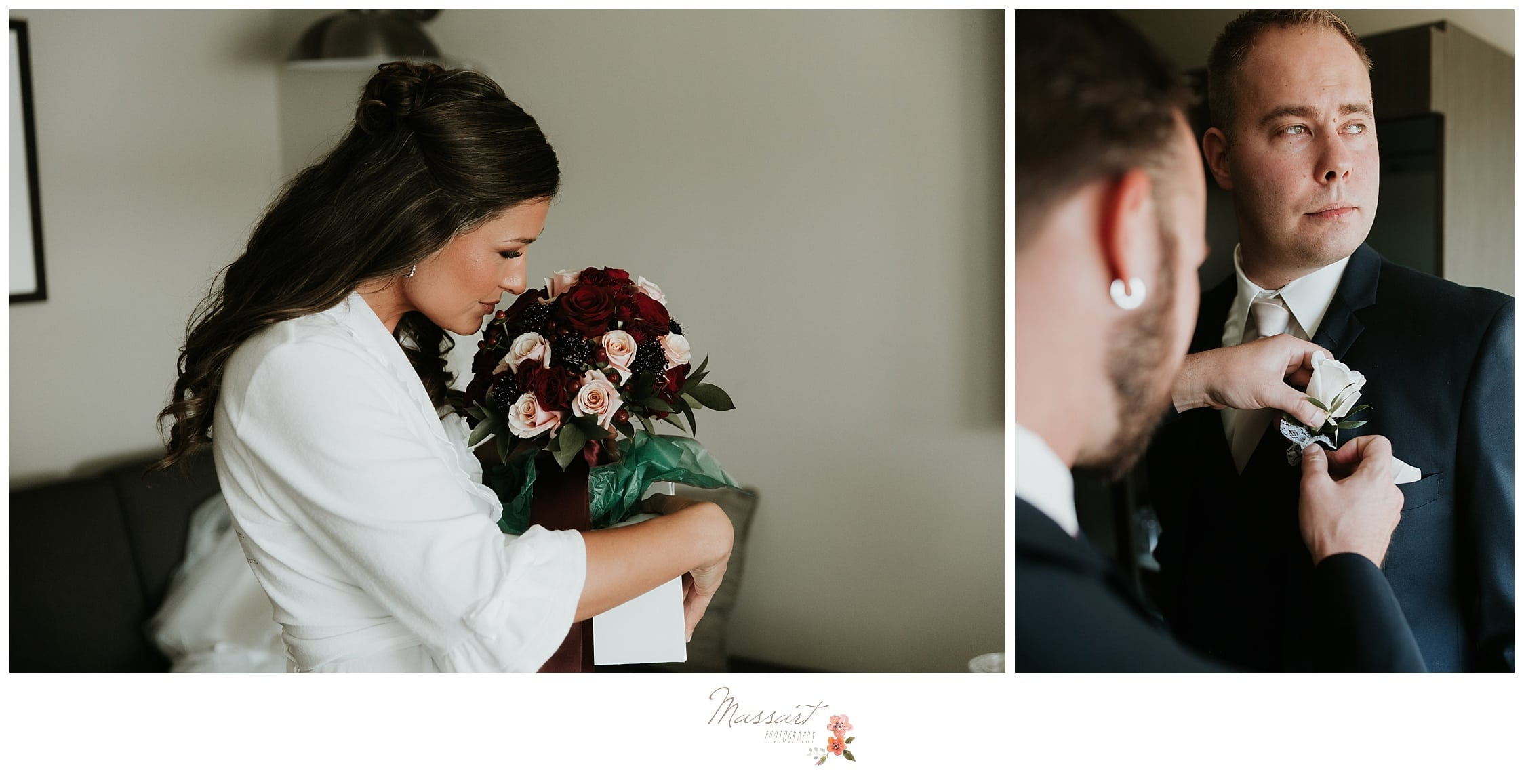 Bride smells her fresh flowers in her bouquet as her groom gets his flowers pinned onto his tux photographed by Massart Photography Rhode Island