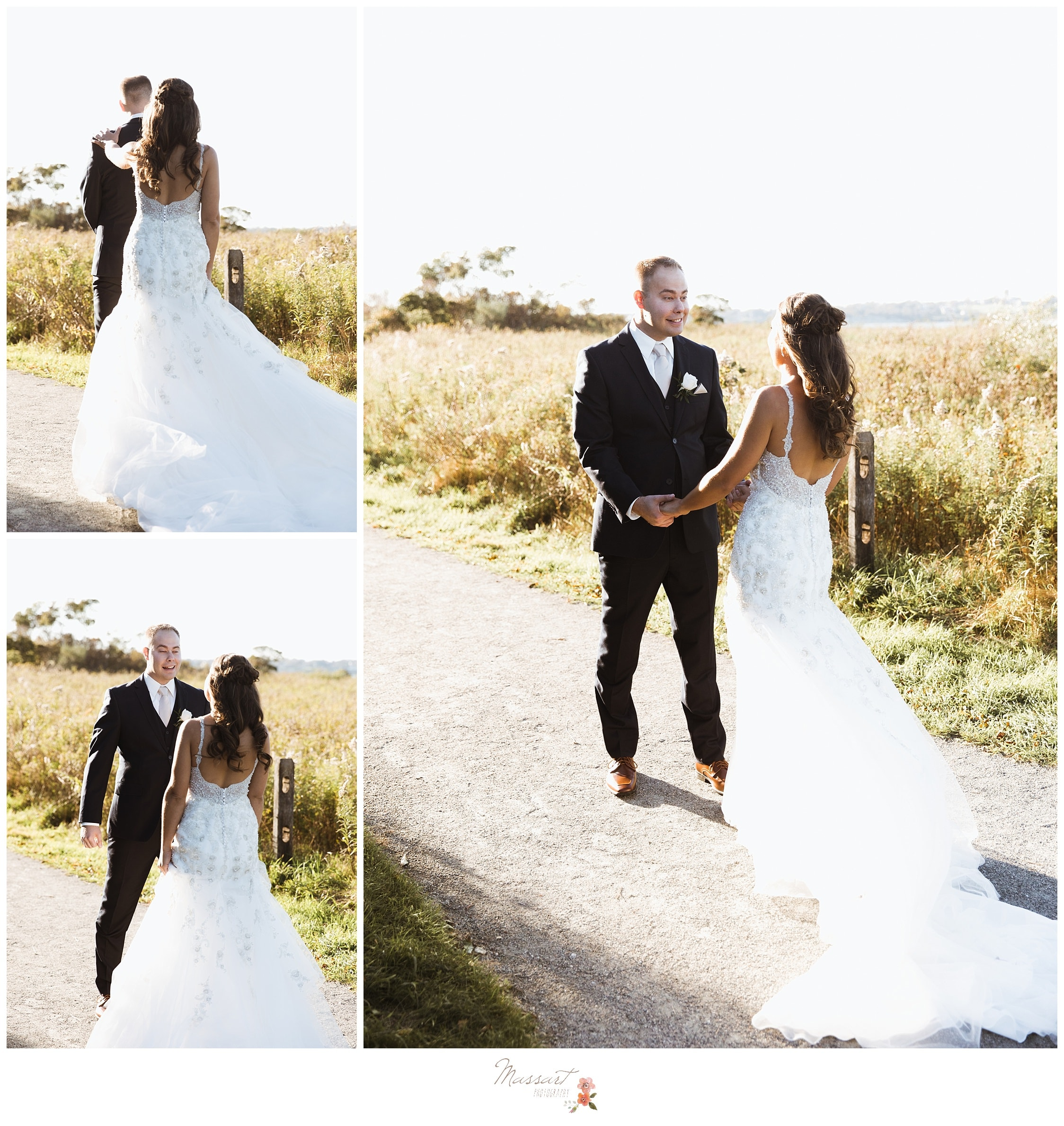 Bride and groom share a first look before their Atlantic Resort wedding photographed by Massart Photography RI