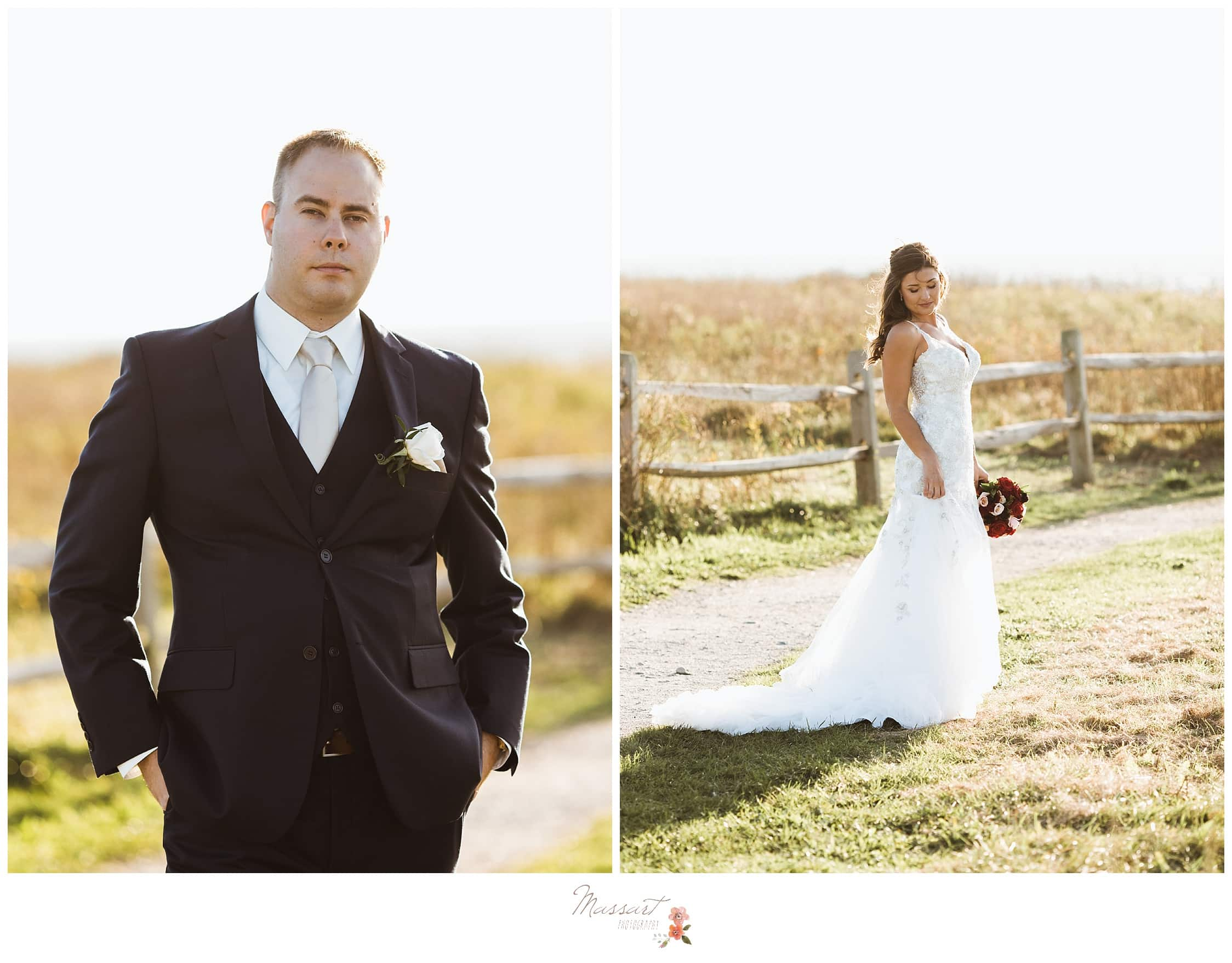 Formal portraits of the bride and groom before their wedding ceremony in Newport, Rhode Island captured by Massart Photography RI