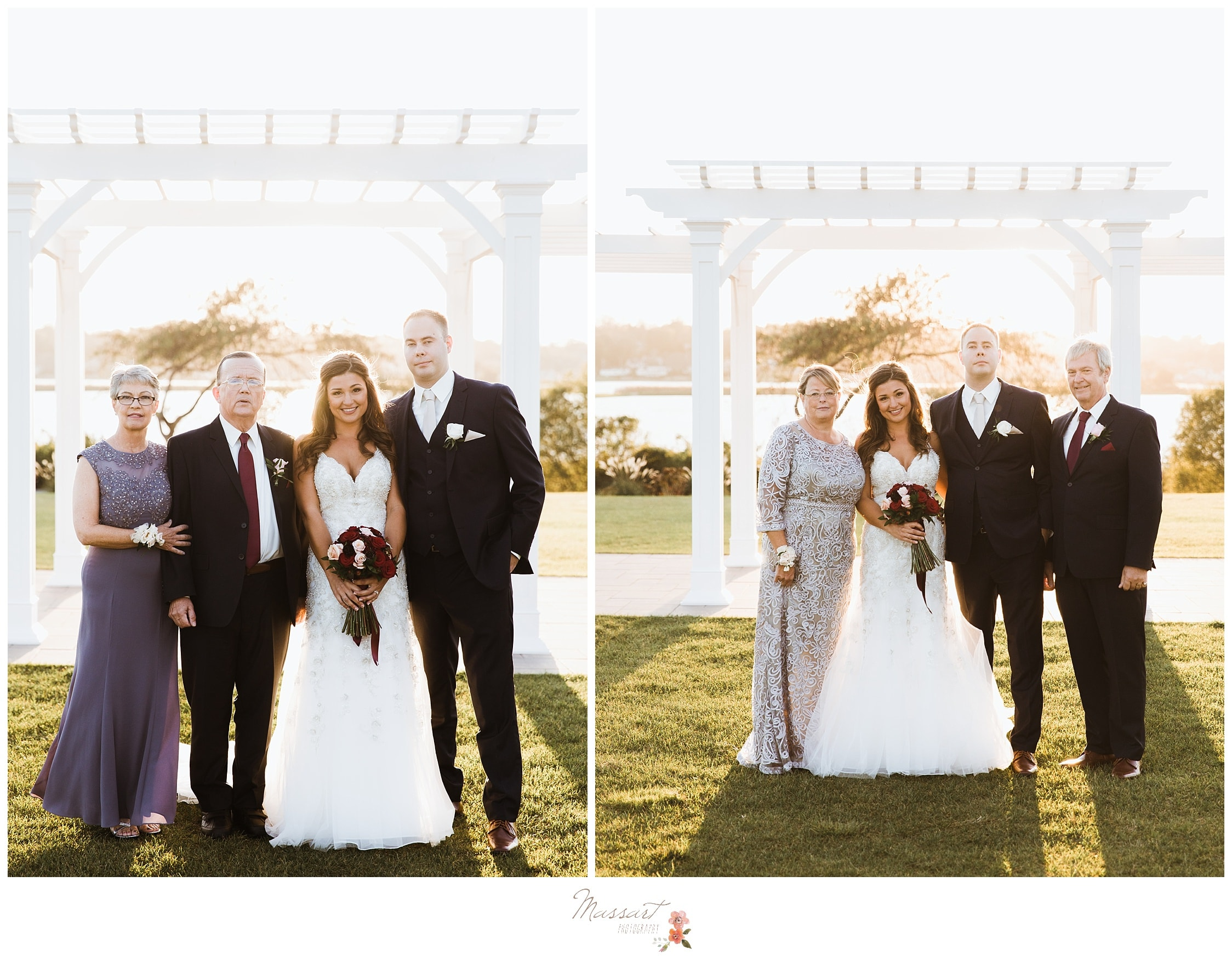 Bride and groom take formal portraits with their parents captured by Massart Photography RI