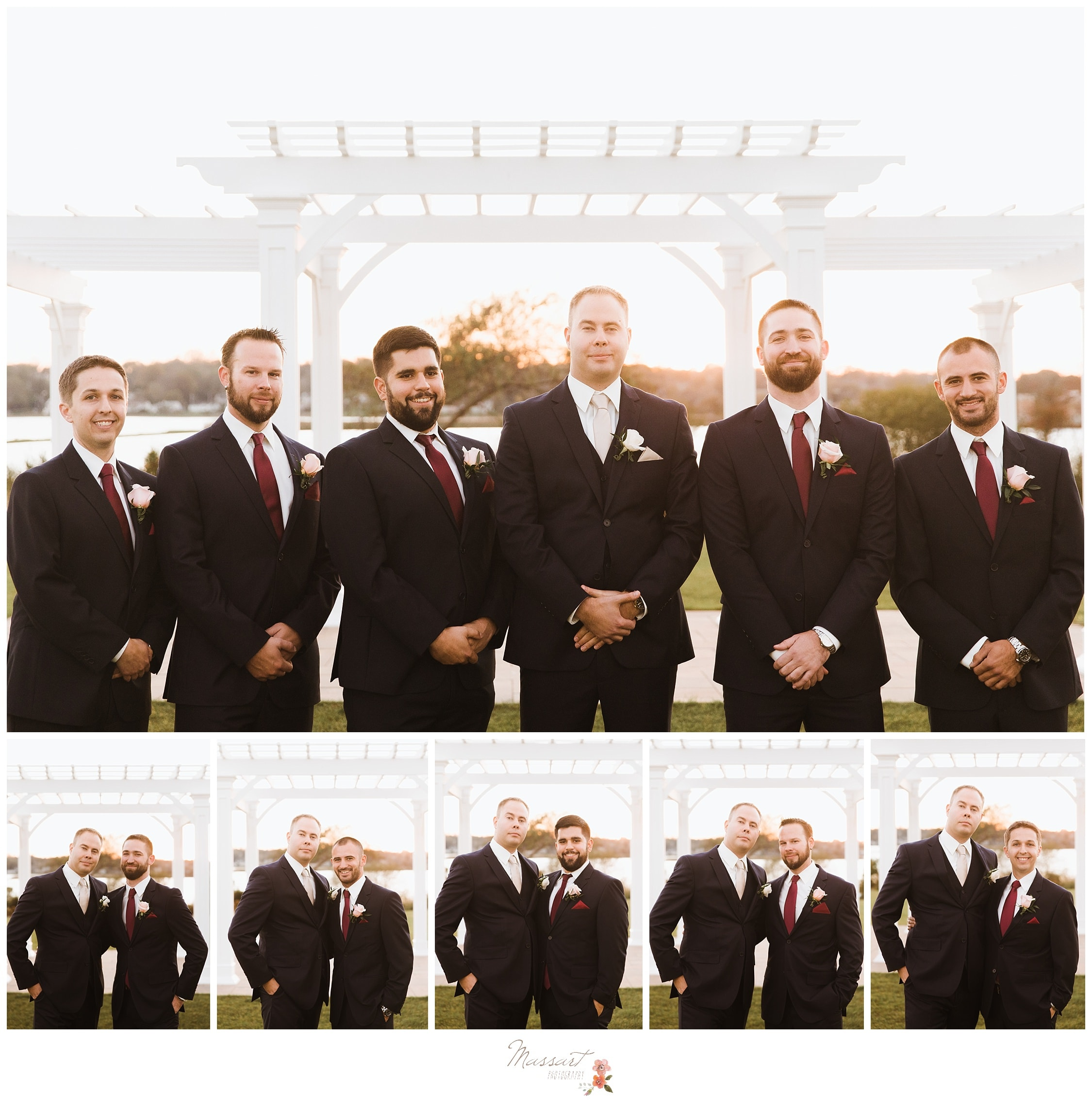 Groom and groomsmen take formal portraits before the wedding ceremony photographed by Massart Photography RI