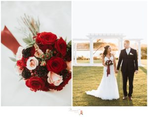 Bride's bouquet and portrait of the bride and groom outside of the Atlantic Resort in Newport, RI photographed by Massart Photography Rhode Island