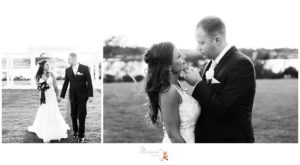 Black and white portraits of the bride and groom under the trellis at The Atlantic Resort photographed by Massart Photography Rhode Island