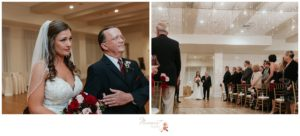 Bride's father walks her down the aisle to her awaiting groom photographed by Massart Photography RI