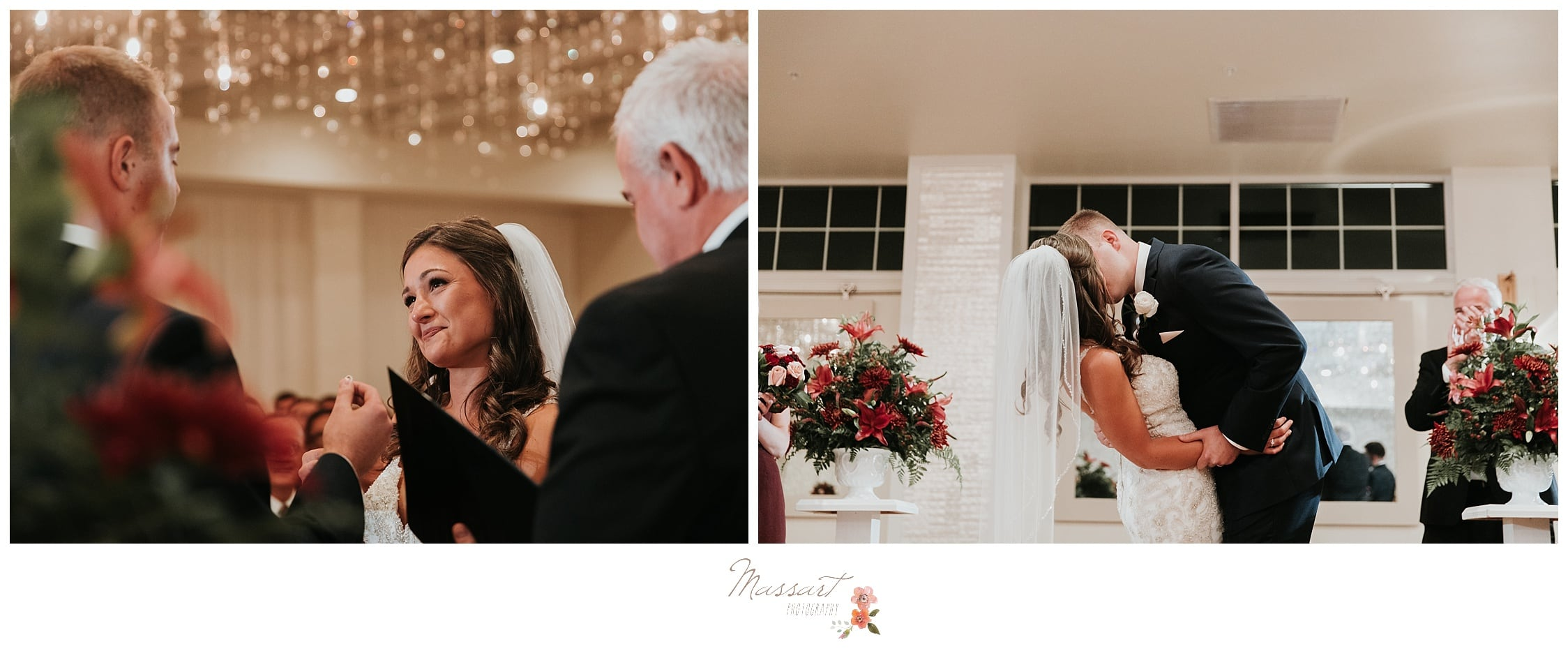 Bride gets emotional as her and the groom say their wedding vows and they share their first kiss as husband and wife photographed by Massart Photography Rhode Island
