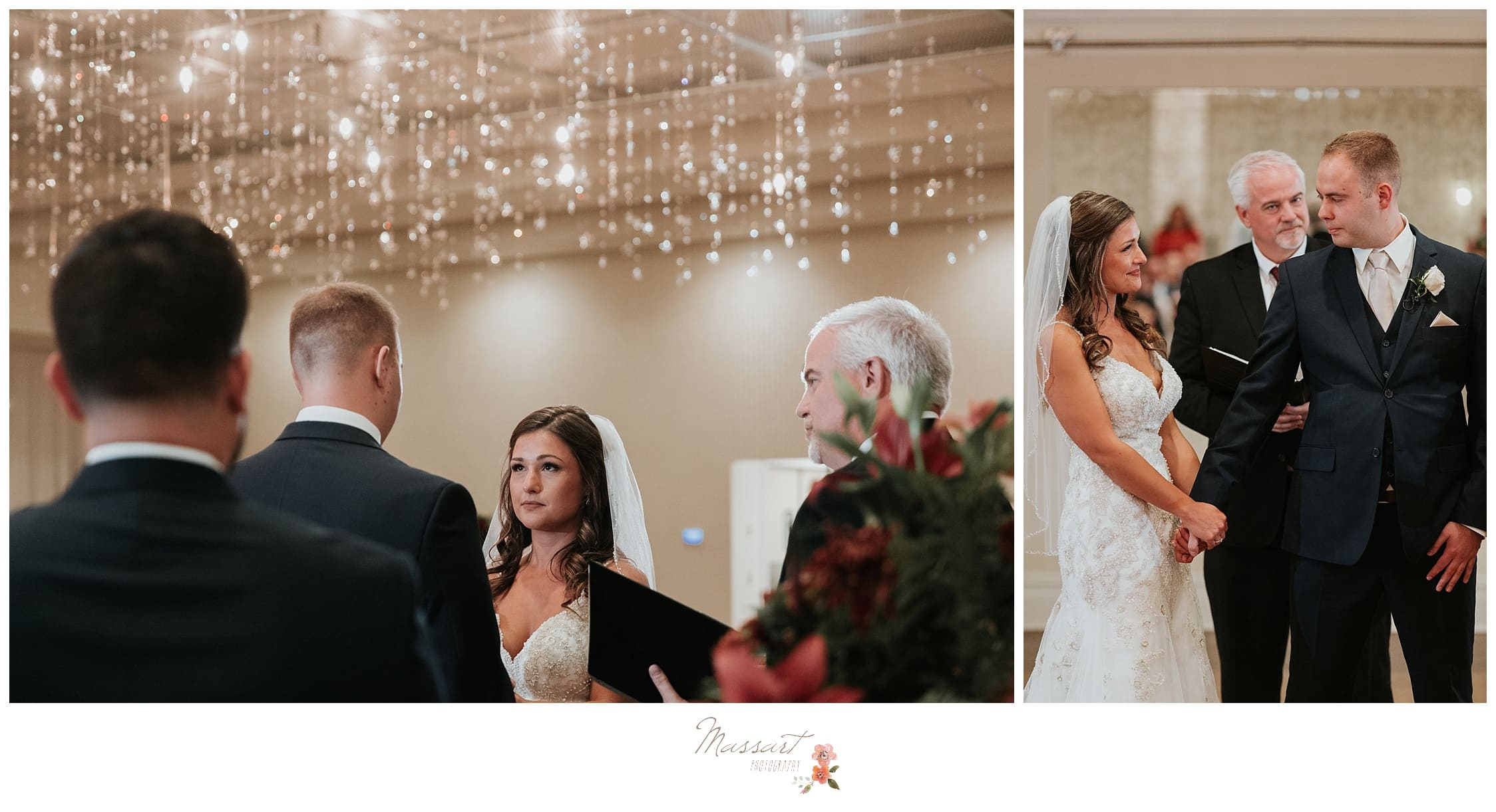 Bride and groom say their wedding vows at The Atlantic Resort photographed by Massart Photography Rhode Island