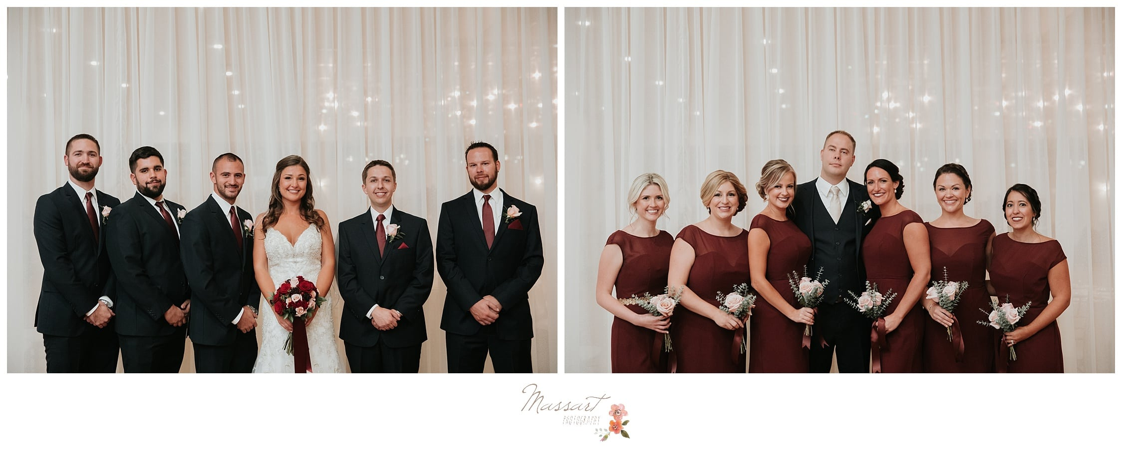 Formal portraits of the bride with the groomsmen and the groom with the bridesmaids photographed by Massart Photography Rhode Island
