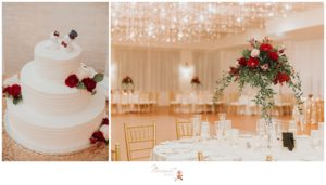 Portraits of the centerpieces at the tables and the wedding cake captured by Massart Photography RI