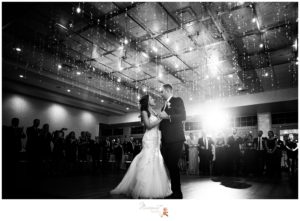 Black and white portrait of the bride and groom sharing their first dance as husband and wife captured by Massart Photography RI