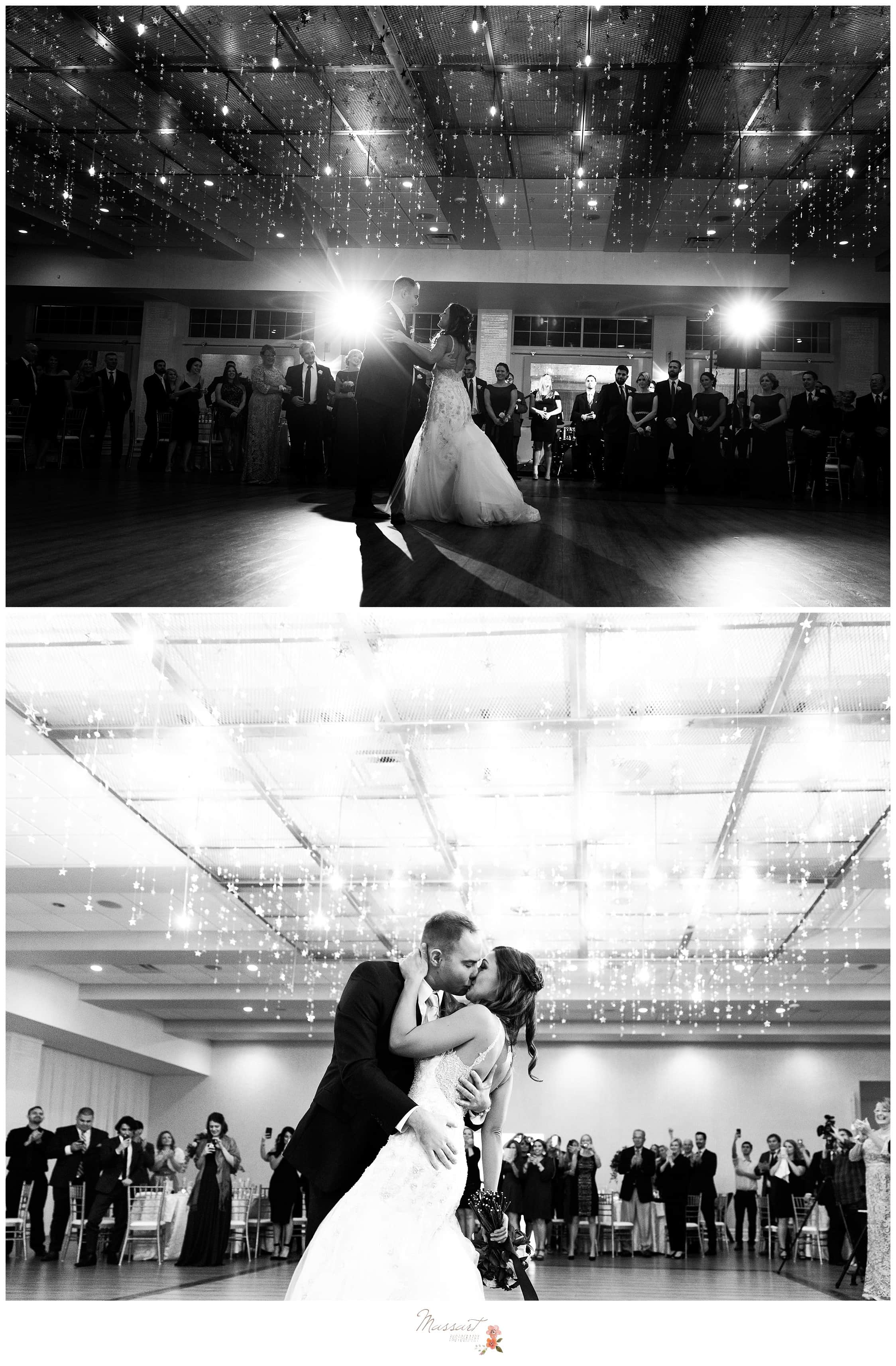 Black and white portraits of the bride and groom dancing as husband and wife at the Atlantic Resort reception photographed by Massart Photography Rhode Island