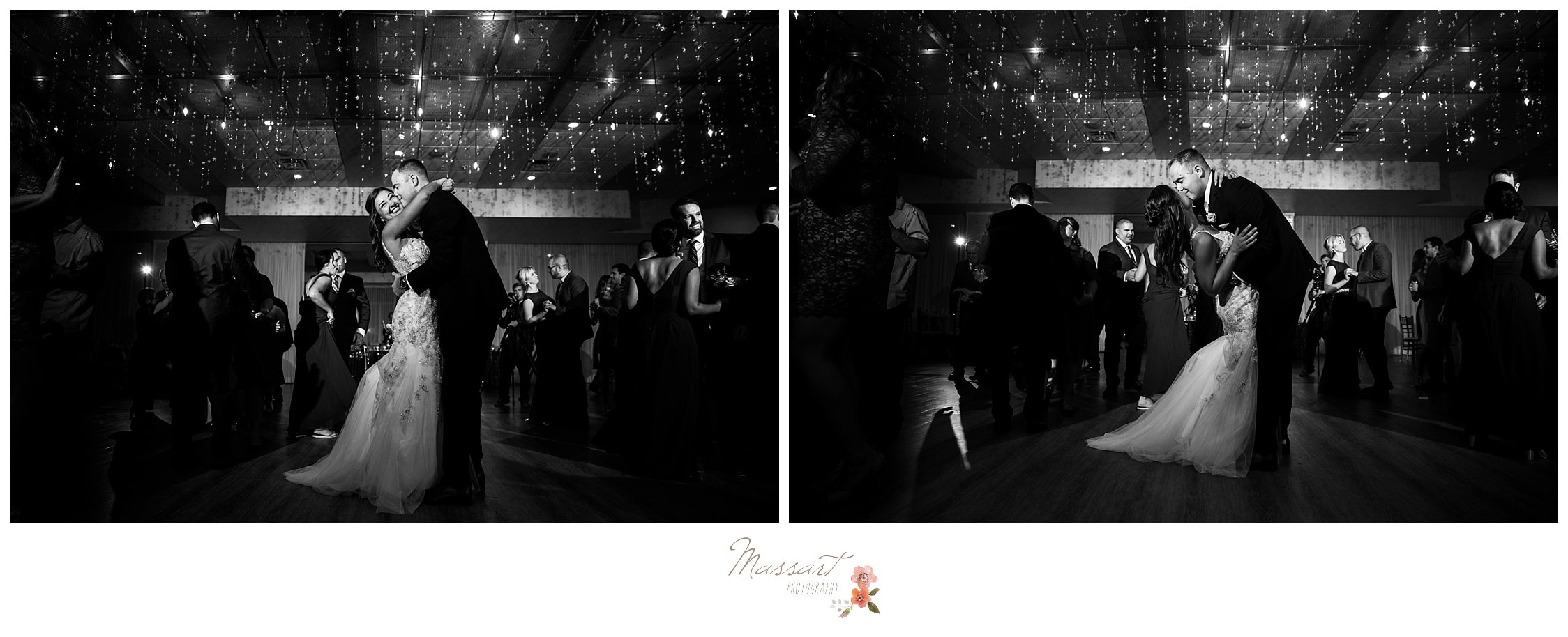 Black and white portraits of the bride and groom's first dance at their wedding reception surrounded by friends and family photographed by Massart Photography Rhode Island
