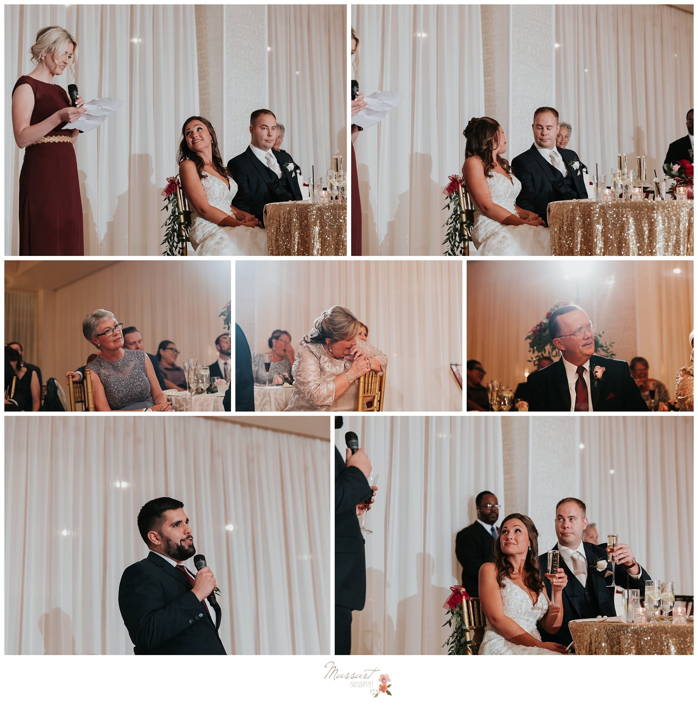 Maid of honor and the best man give speeches at the wedding reception photographed by Massart Photography Rhode Island