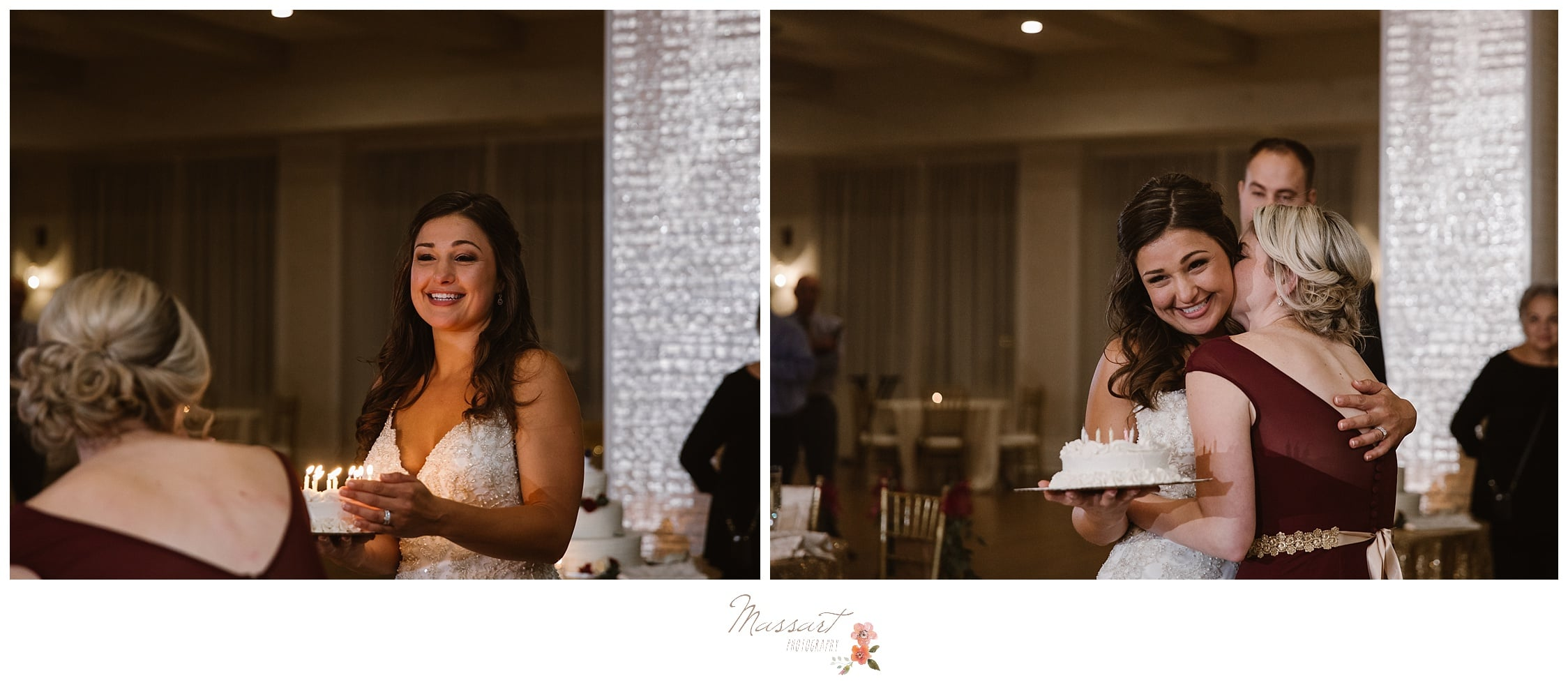 Bride brings out a cake for her best friend's birthday at the wedding reception photographed by Massart Photography RI