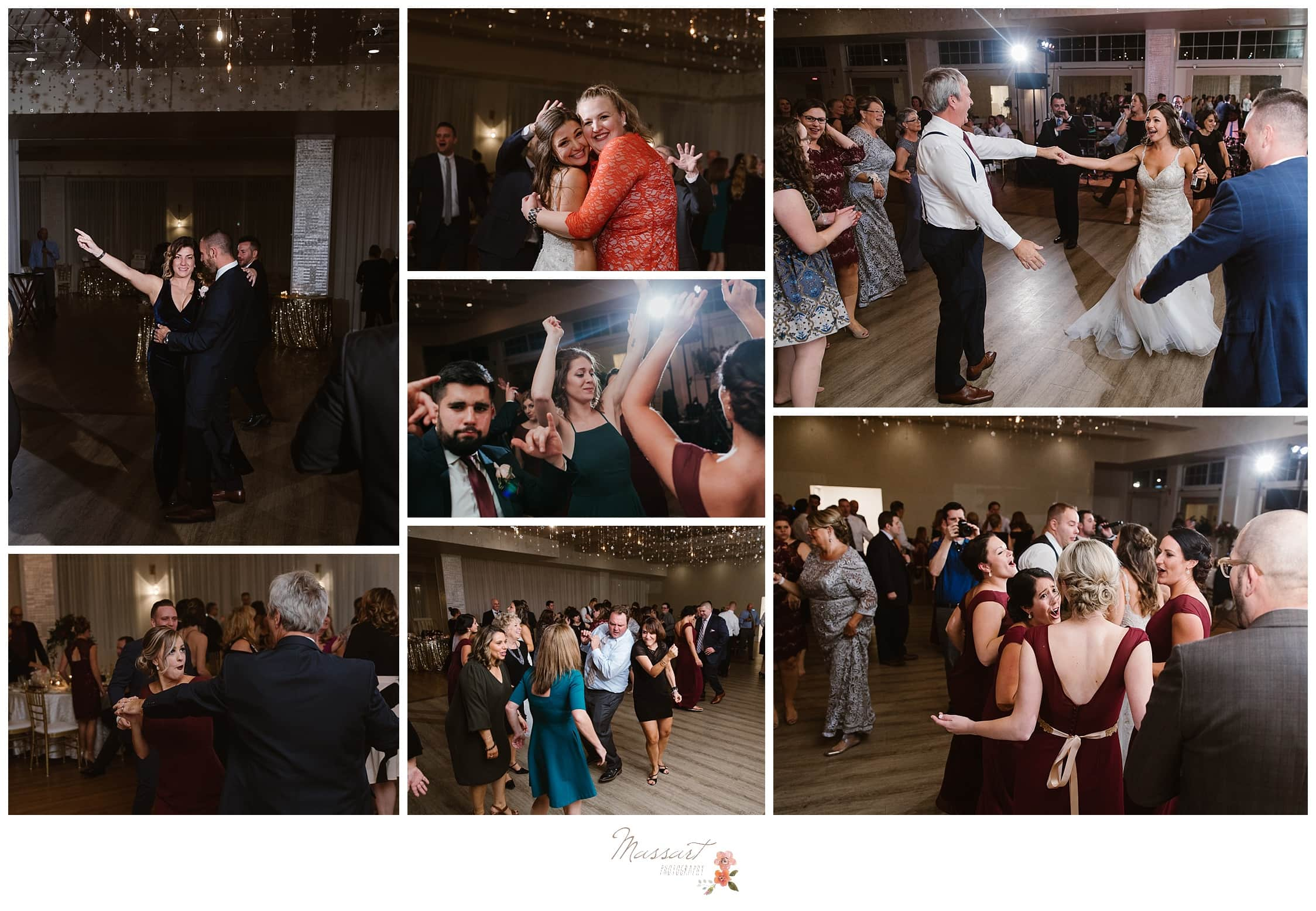 Wedding guests have fun dancing at the Atlantic Resort wedding reception photographed by Massart Photography RI