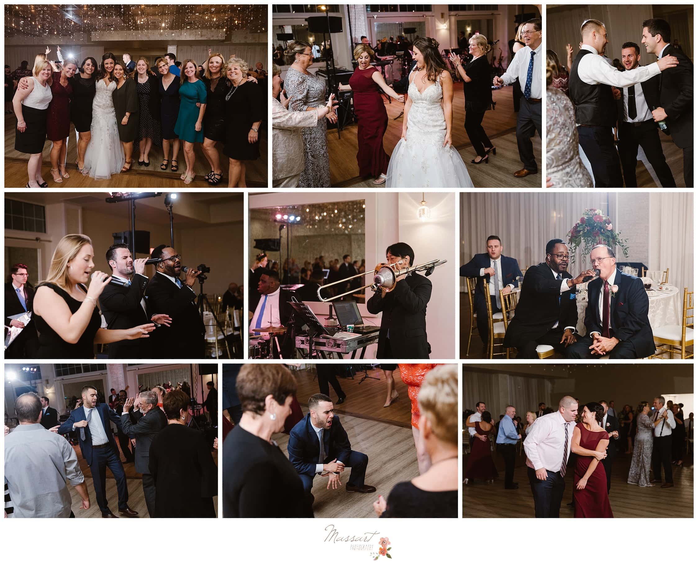Bride and groom dance with their friends and family at the wedding reception photographed by Massart Photography Rhode Island