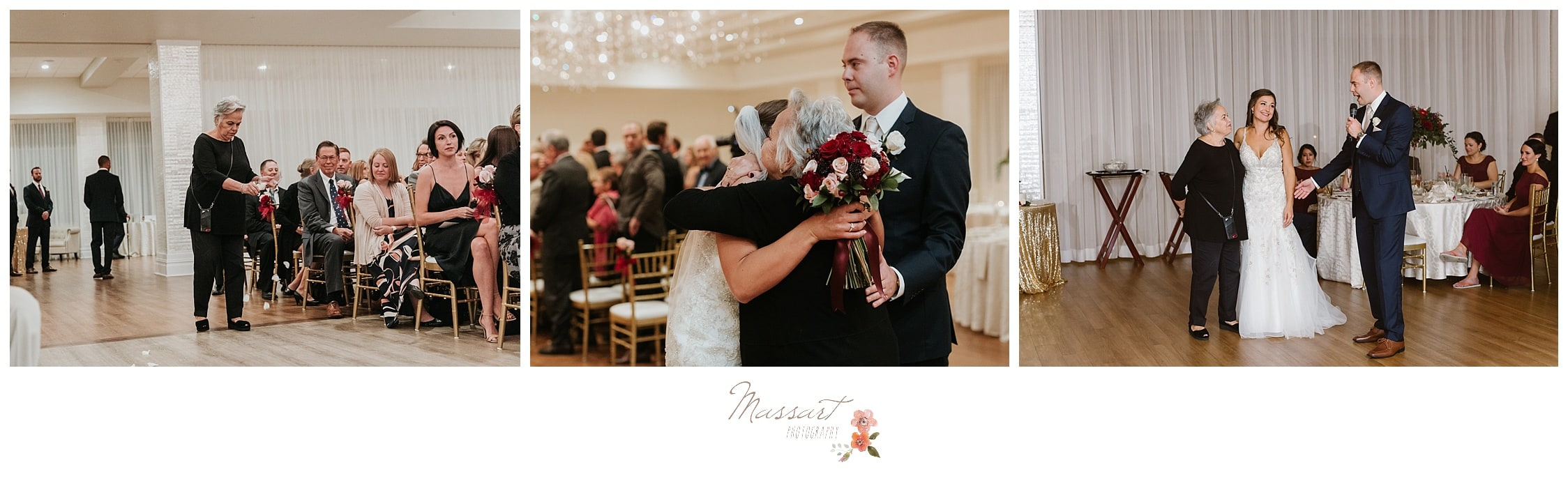 Bride and groom give their family hugs and kisses after their wedding reception photographed by Massart Photography Rhode Island