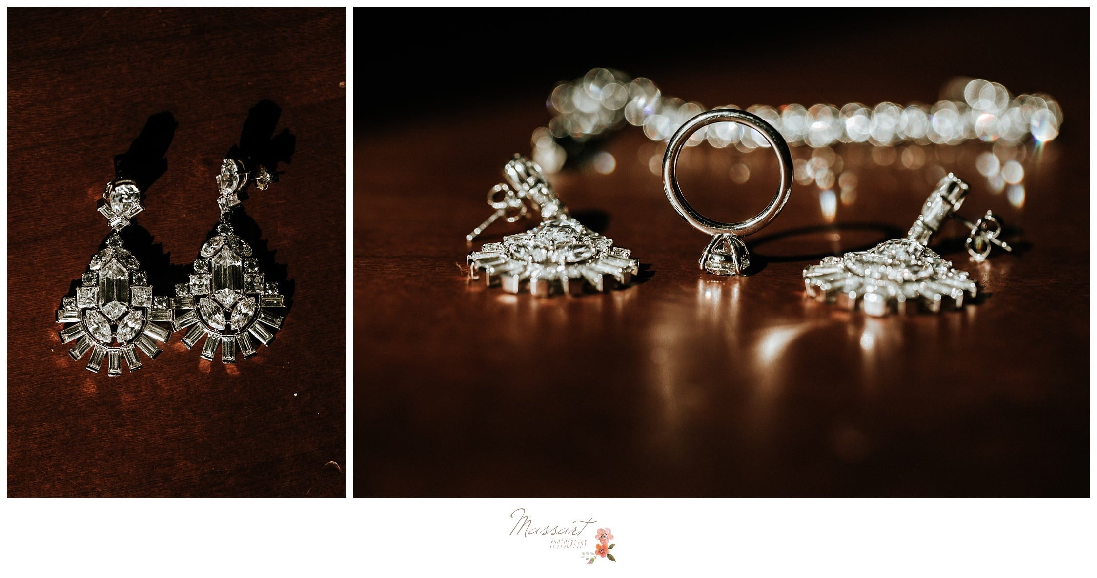 Detail portraits of the bride's jewelry and her wedding rings photographed by Massart Photography RI
