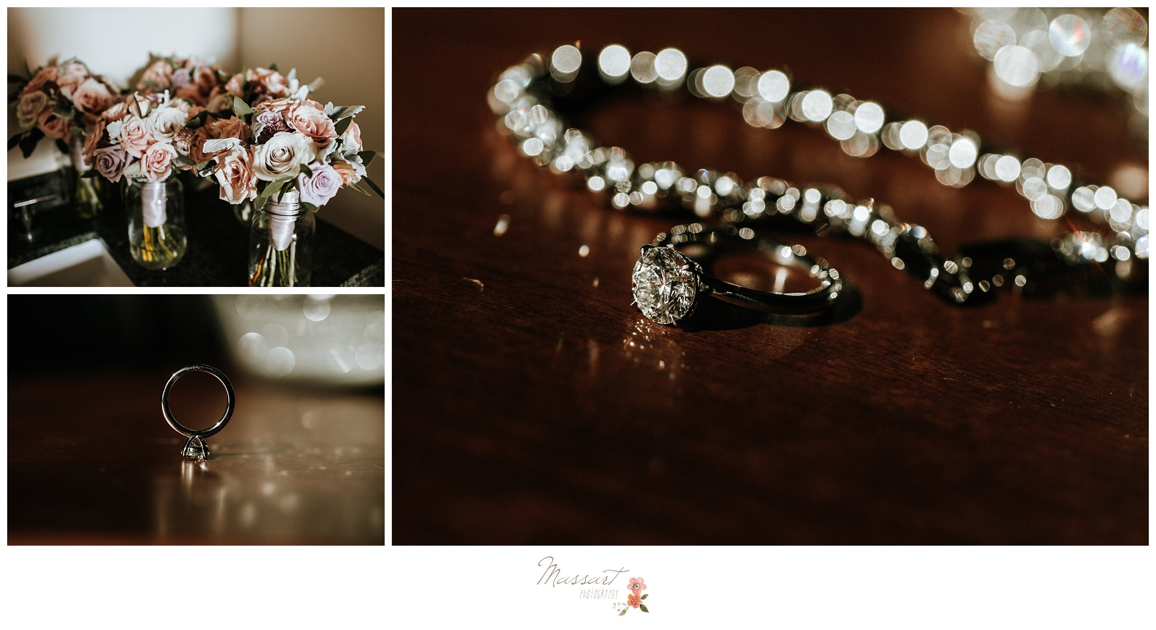 Bride's jewelry and her wedding bouquet before the wedding ceremony photographed by Massart Photography Rhode Island