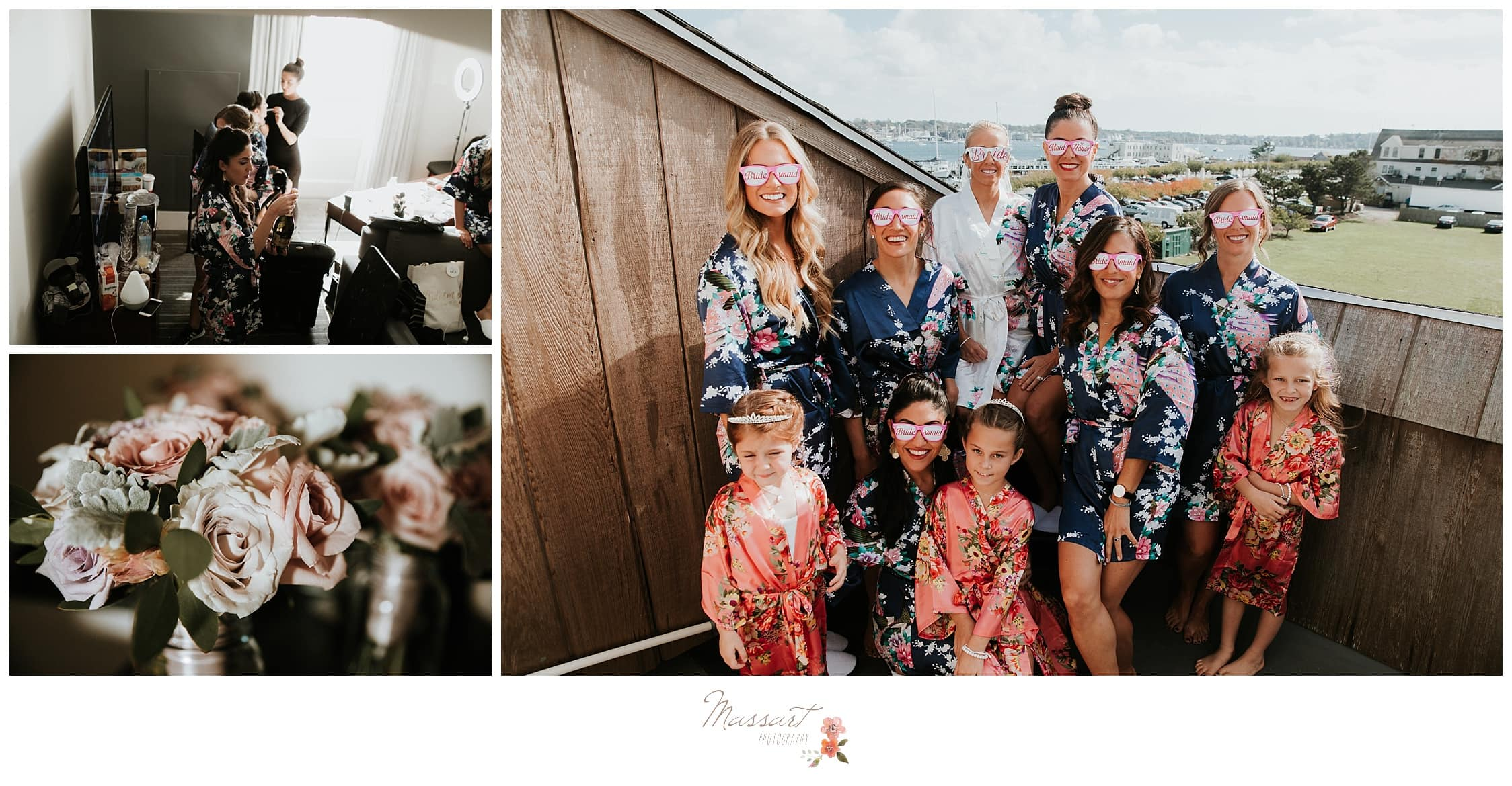 Bridal party and the bride wearing matching sunglasses before the wedding ceremony photographed by Massart Photography Rhode Island