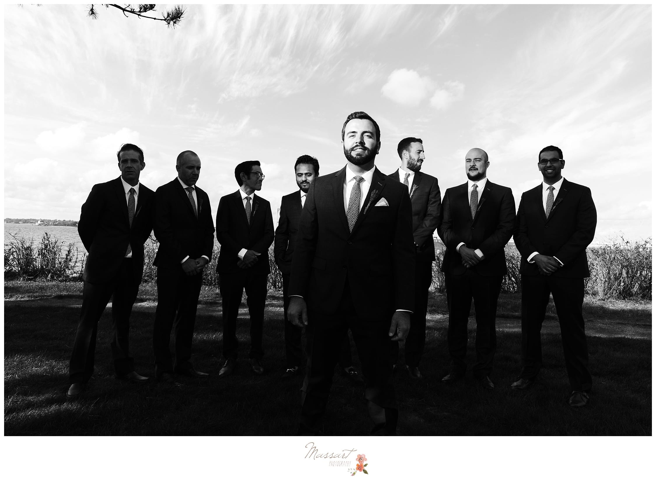 Black and white portrait of the groom and his groomsmen photographed by Massart Photography RI