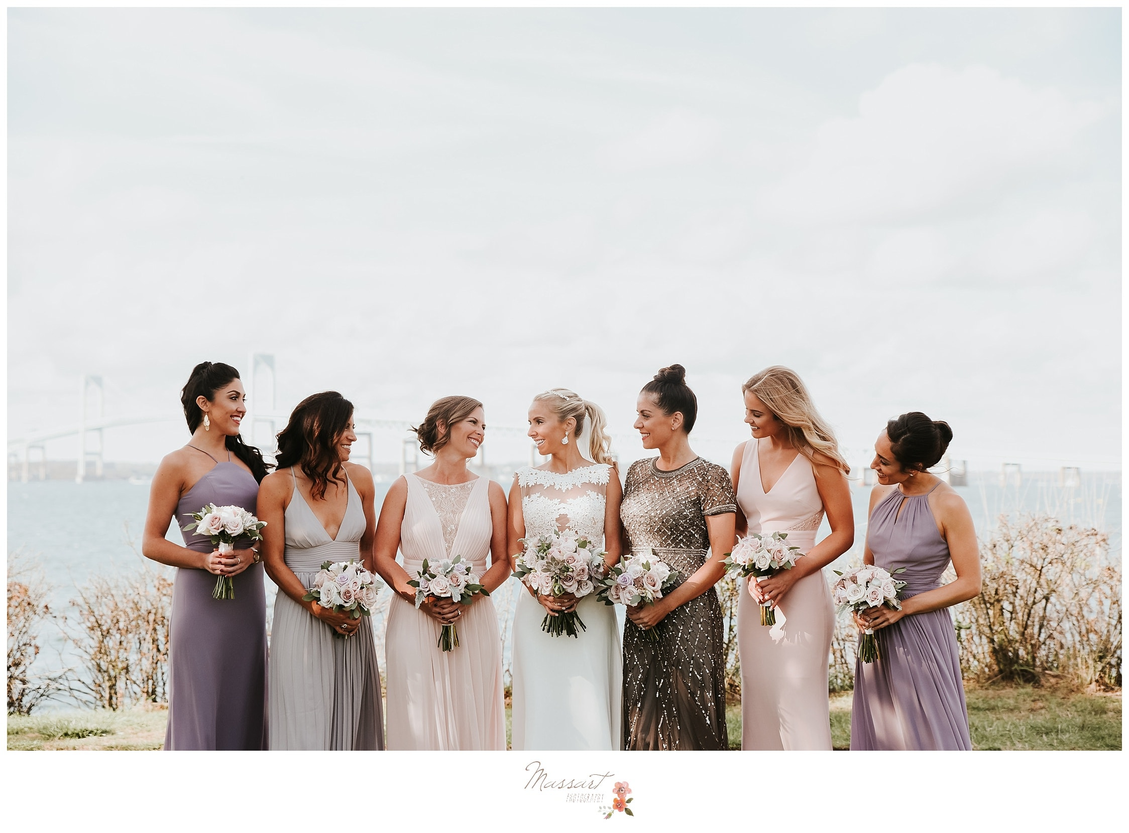 Bride and her bridal party photographed by Massart Photography RI