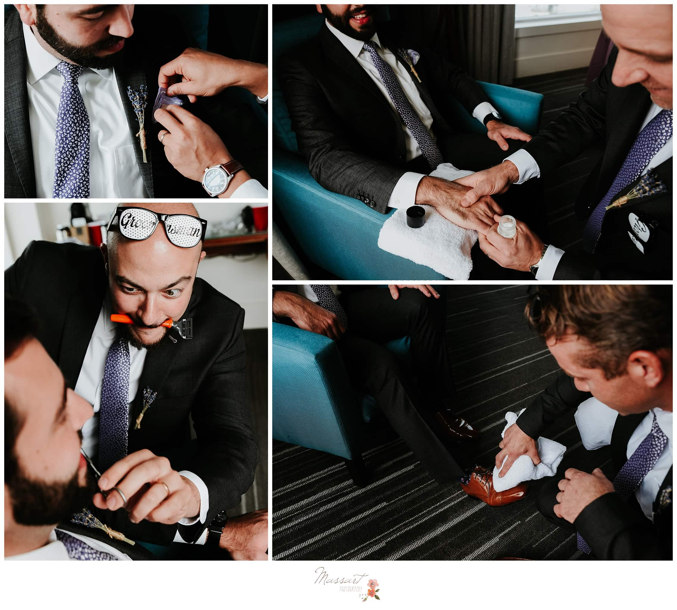 Groom and his groomsmen act silly before the wedding ceremony photographed by Massart Photography Rhode Island