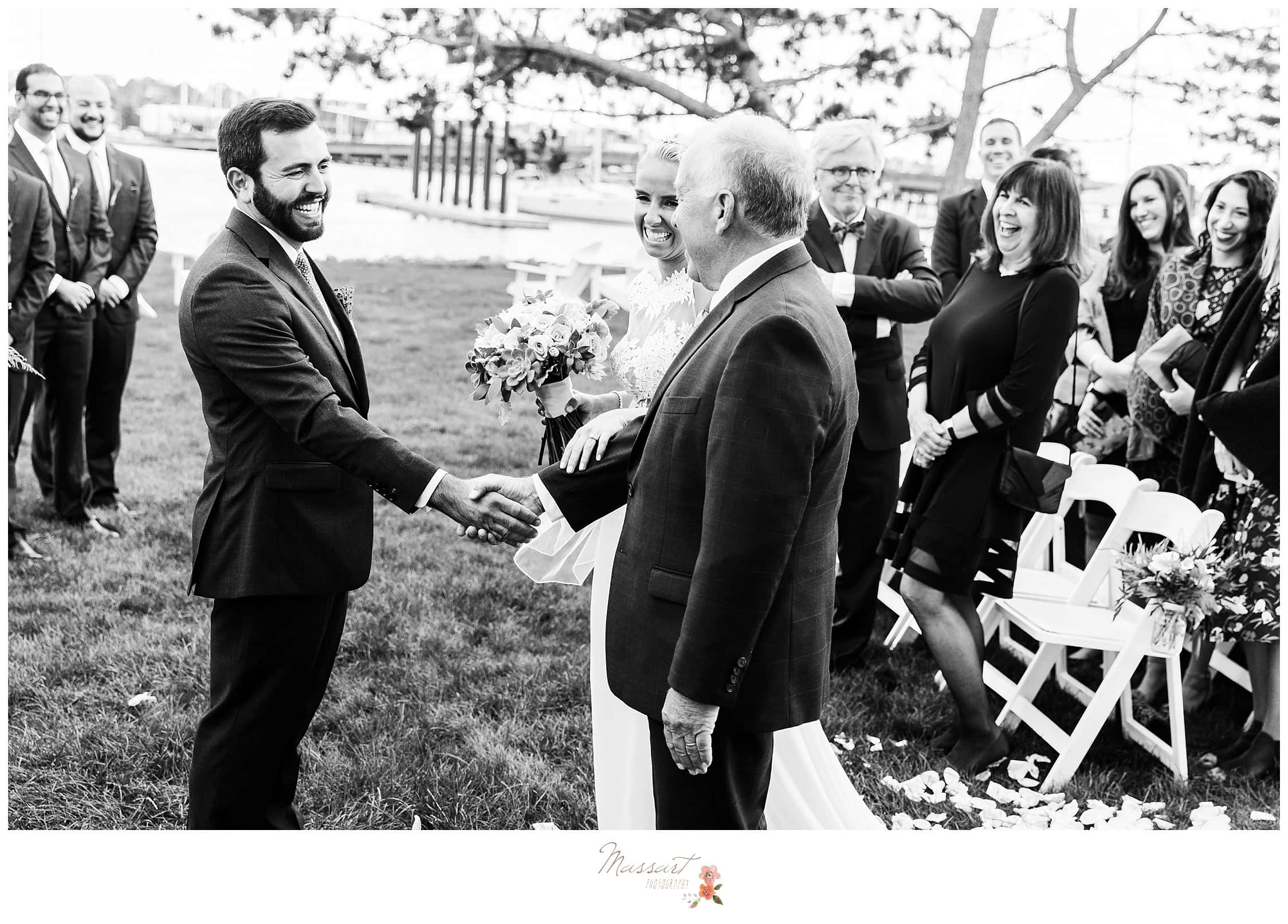 Black and white portrait of the father of the bride giving away his daughter photographed by Massart Photography RI