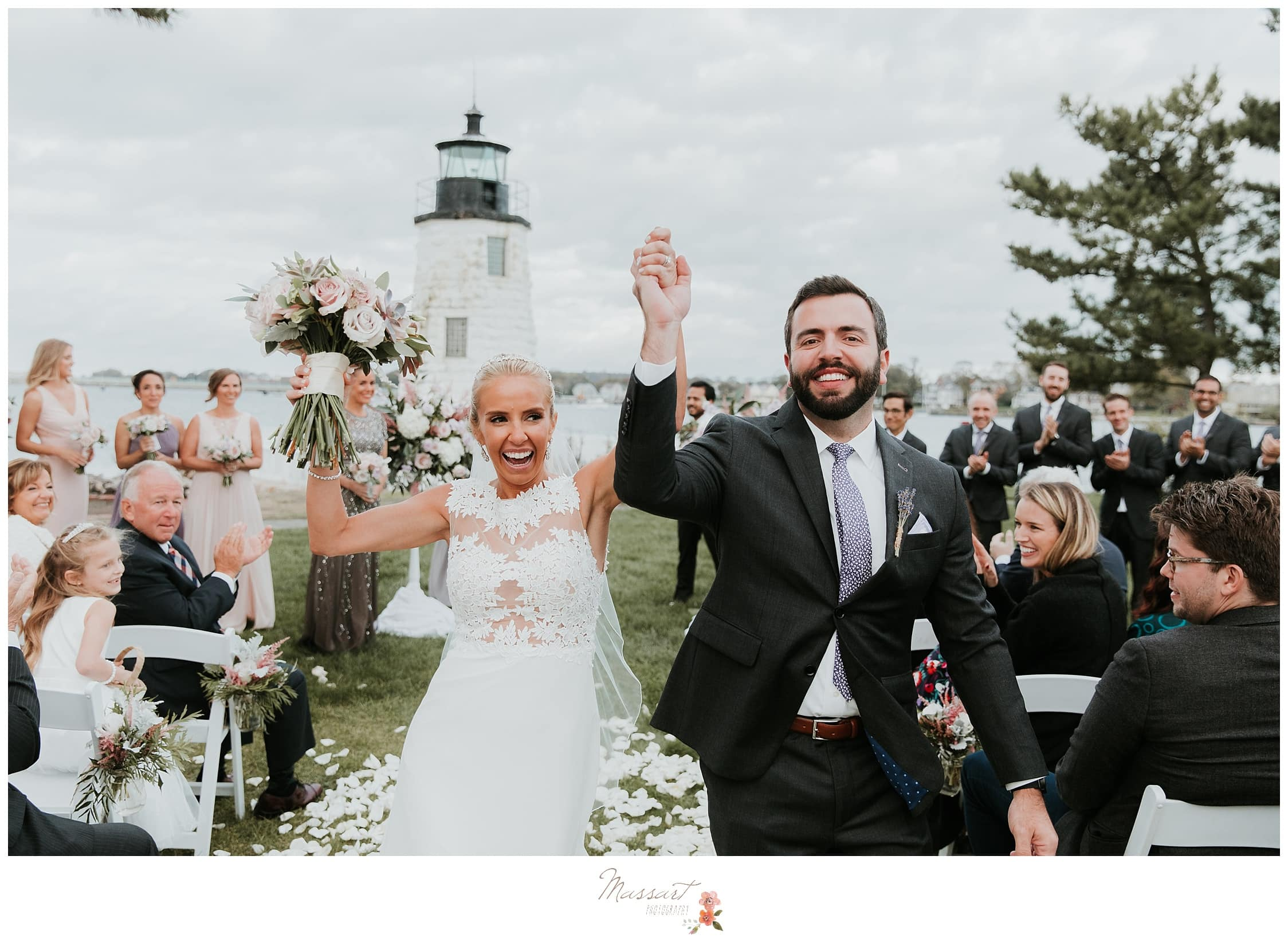 Bride and groom after their wedding ceremony photographed by Massart Photography Rhode Island