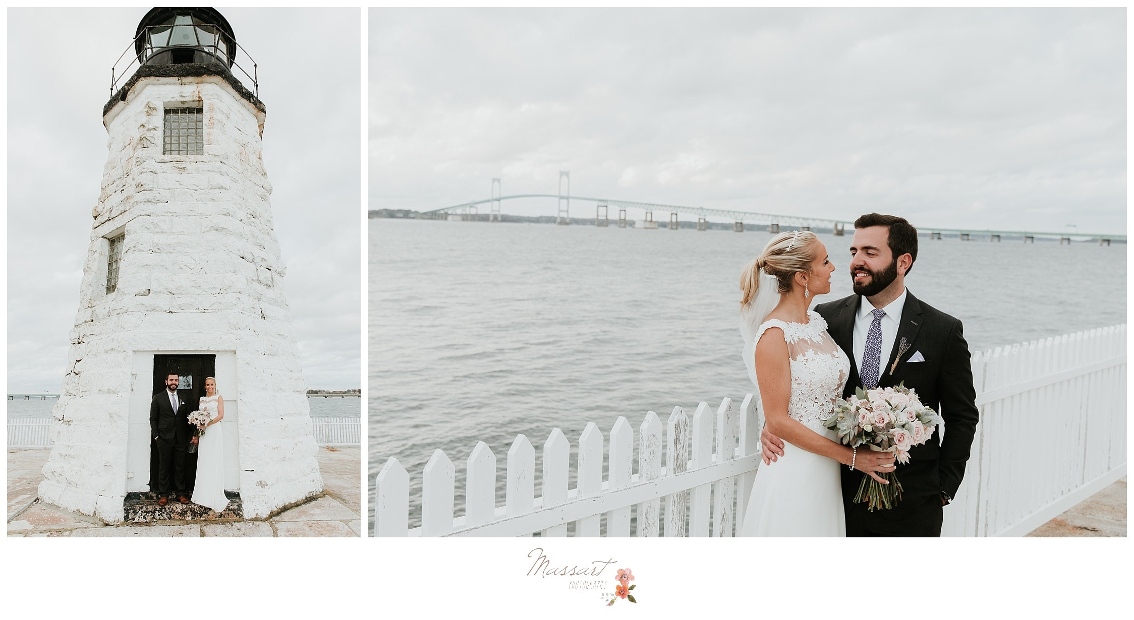 Formal portraits of the bride and groom by the lighthouse photographed by Massart Photography RI
