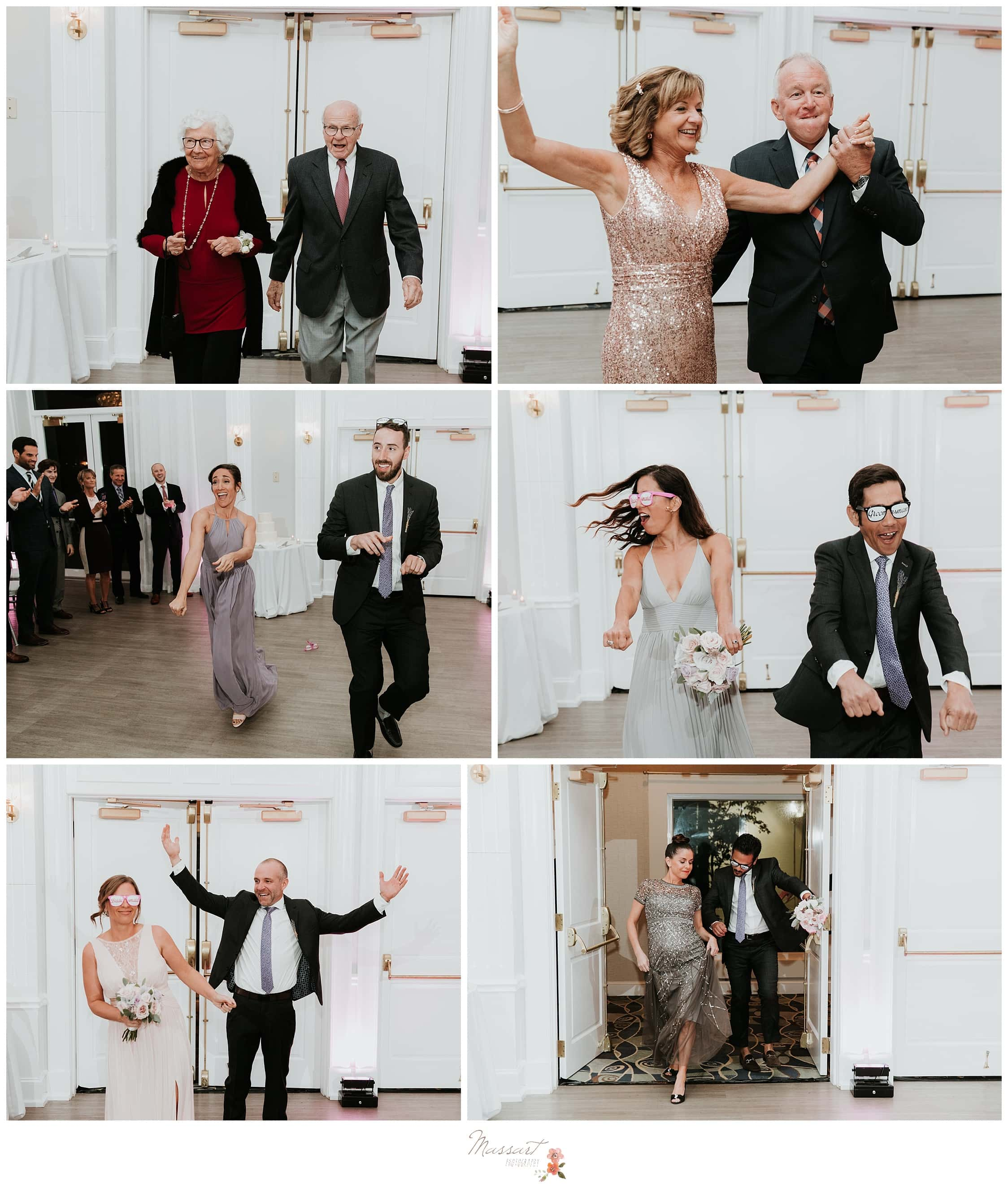 Portraits of the bridesmaids, groomsmen and the parents walking into the wedding reception photographed by Massart Photography Rhode Island