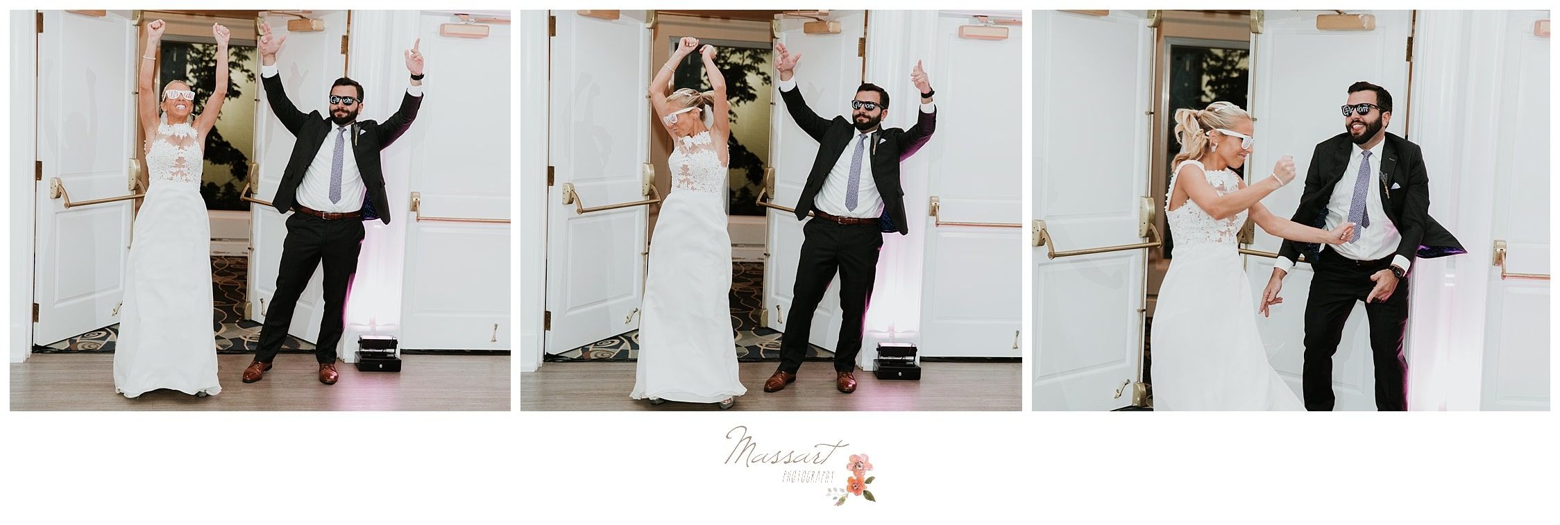 Bride and groom dancing into their wedding reception photographed by Massart Photography Rhode Island