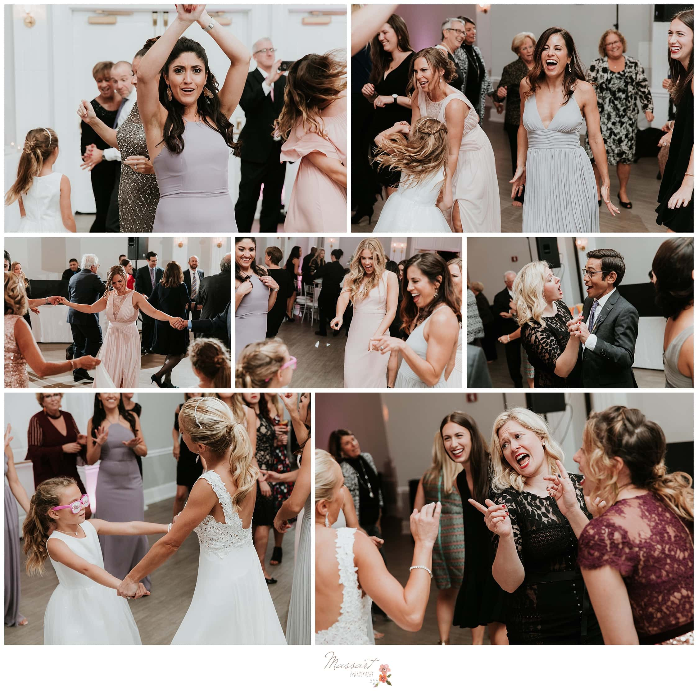 Portraits of the wedding guests dancing around the wedding reception photographed by Massart Photography RI